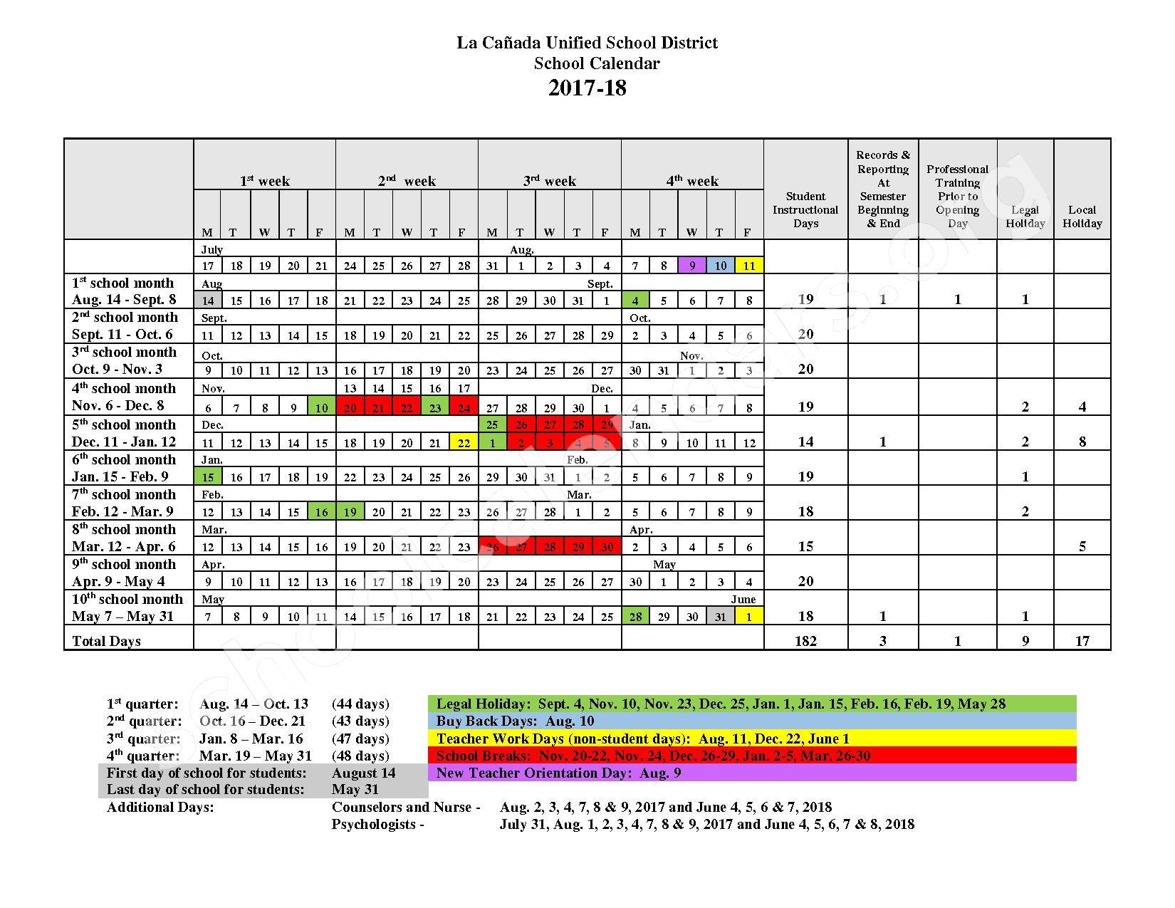 2017 - 2018 District Calendar – La Canada Unified School District – page 1