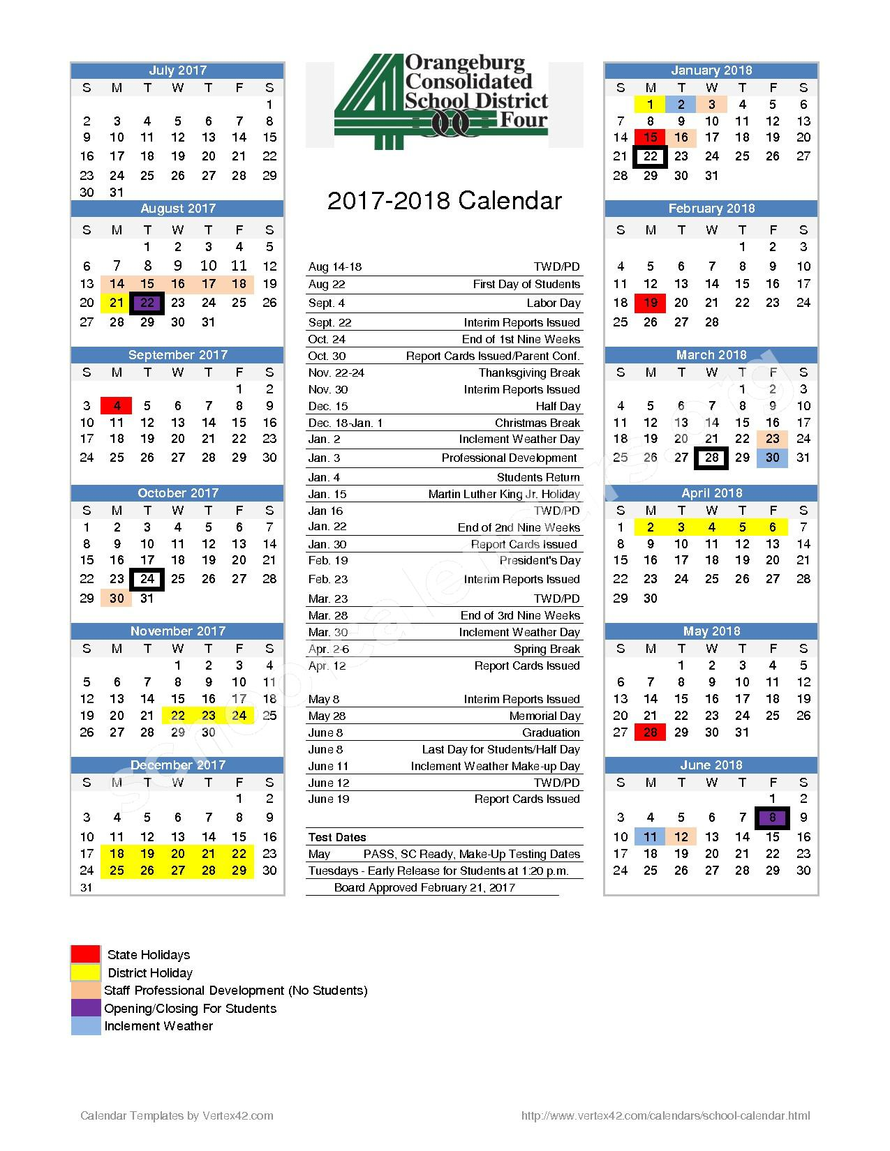 2017 - 2018  District Calendar – Orangeburg School District 4 – page 1