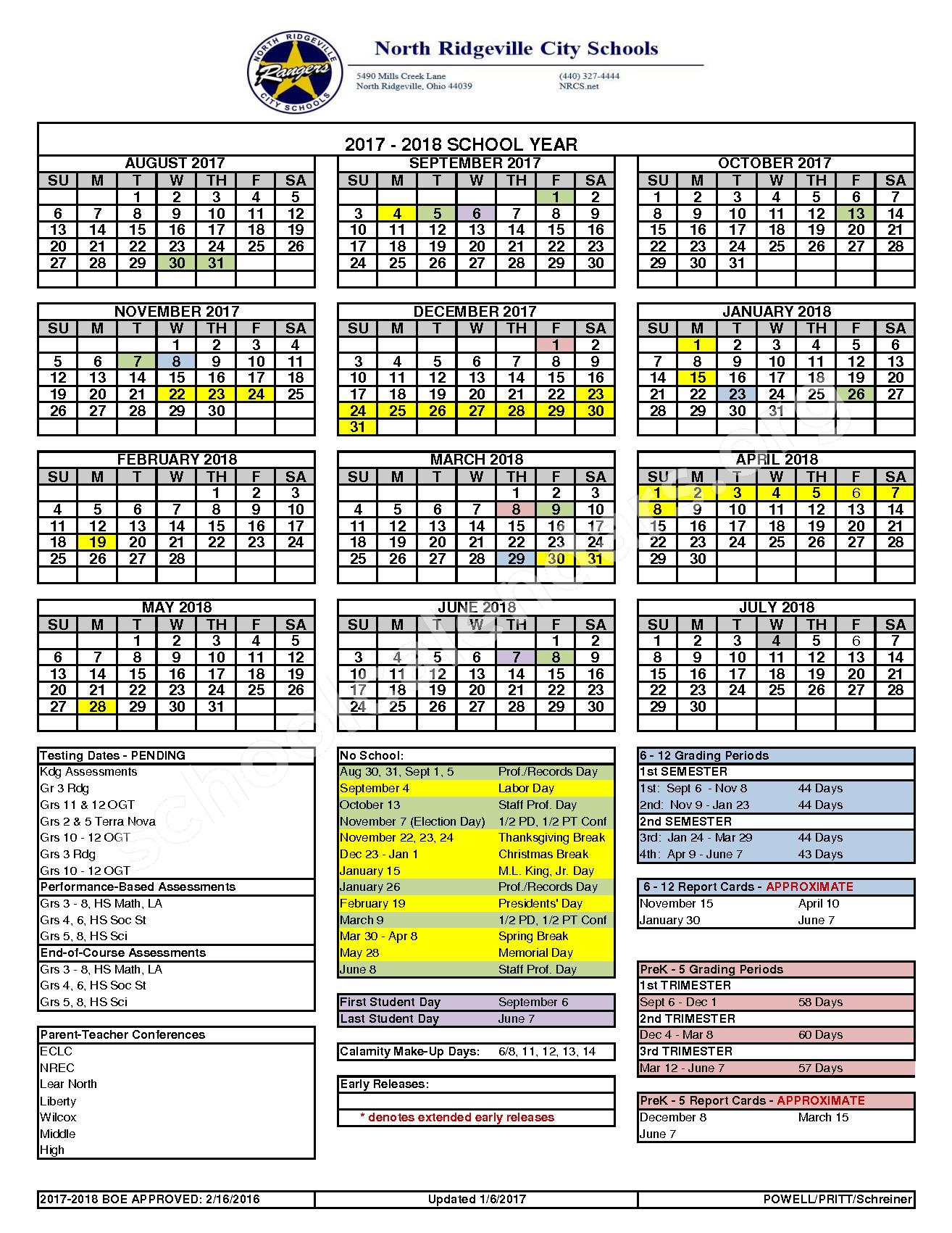 2017 - 2018 School Calendar – North Ridgeville City Schools – page 1
