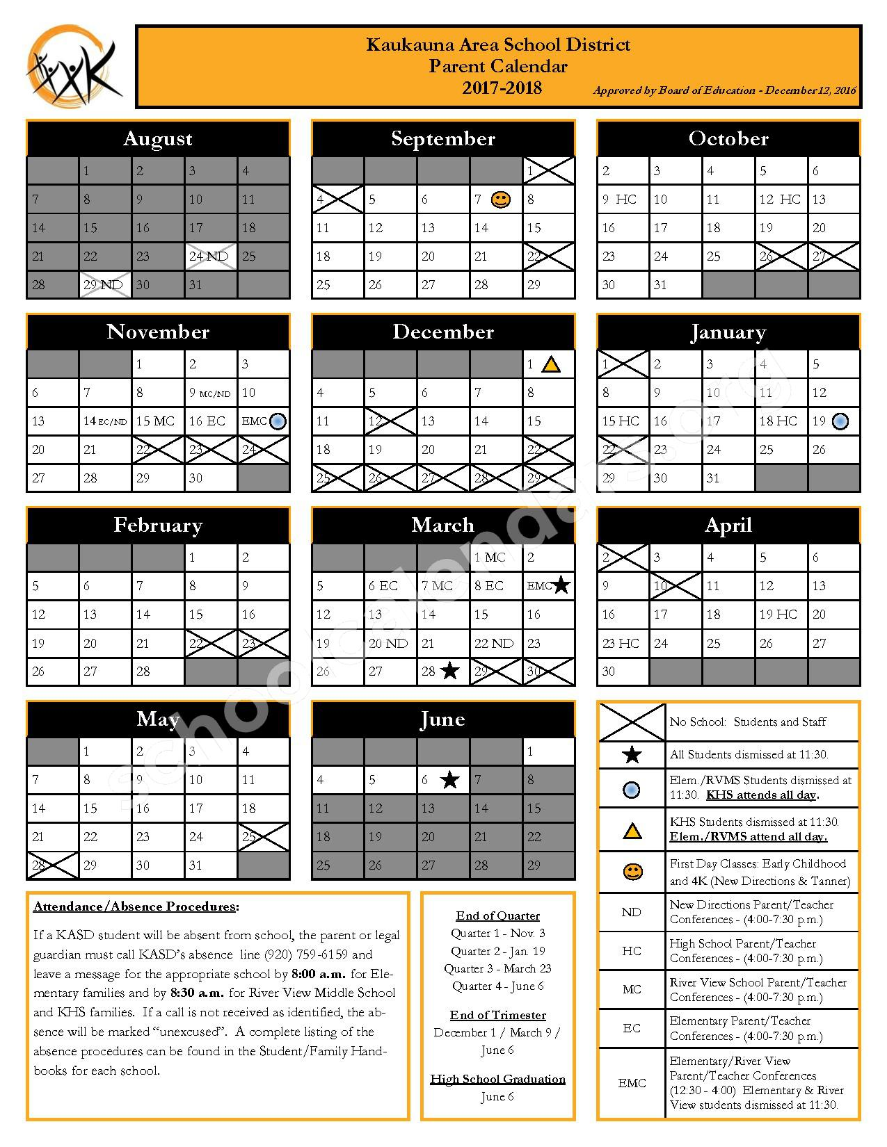 2017 - 2018 School Calendar – Kaukauna Area School District – page 1