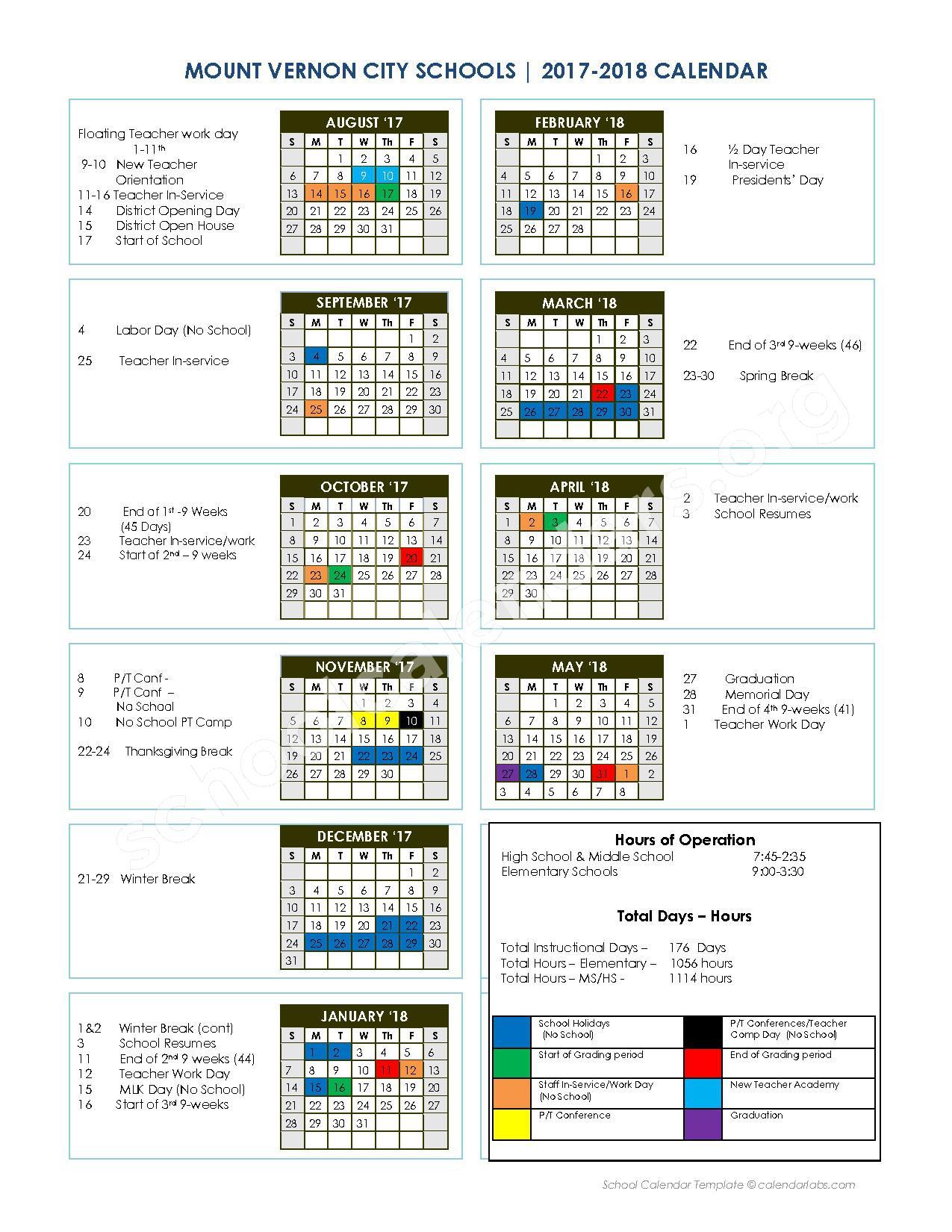 2017 - 2018 District Calendar – Mount Vernon City Schools – page 1