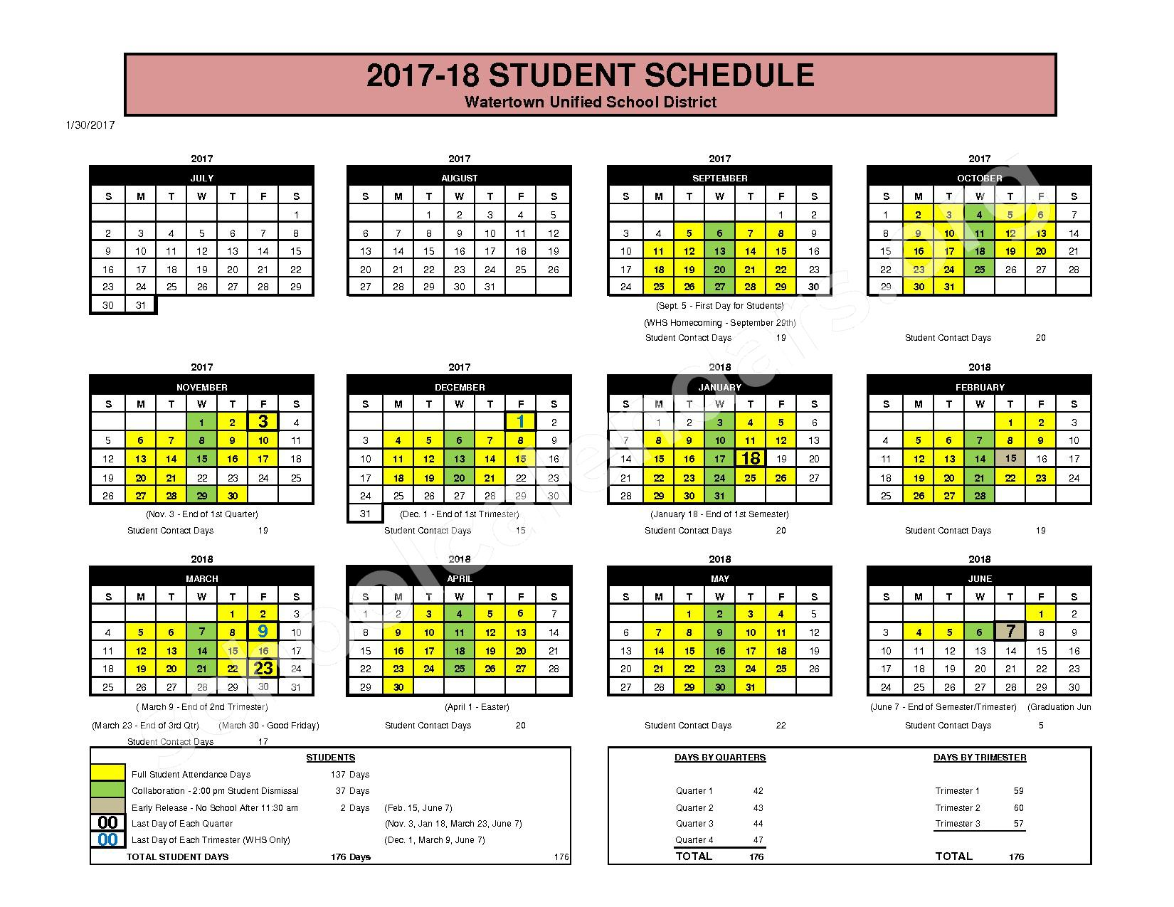 2017 - 2018 Student Calendar – Watertown Unified School District – page 1