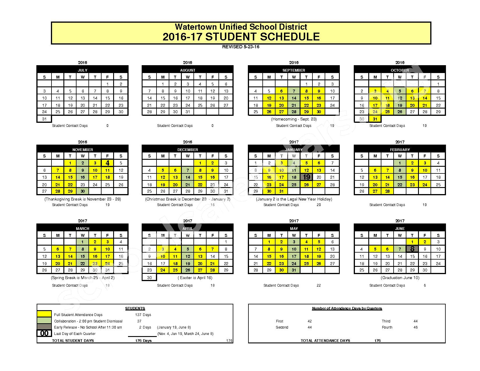 2016 - 2017 School Calendar – Watertown Unified School District – page 1