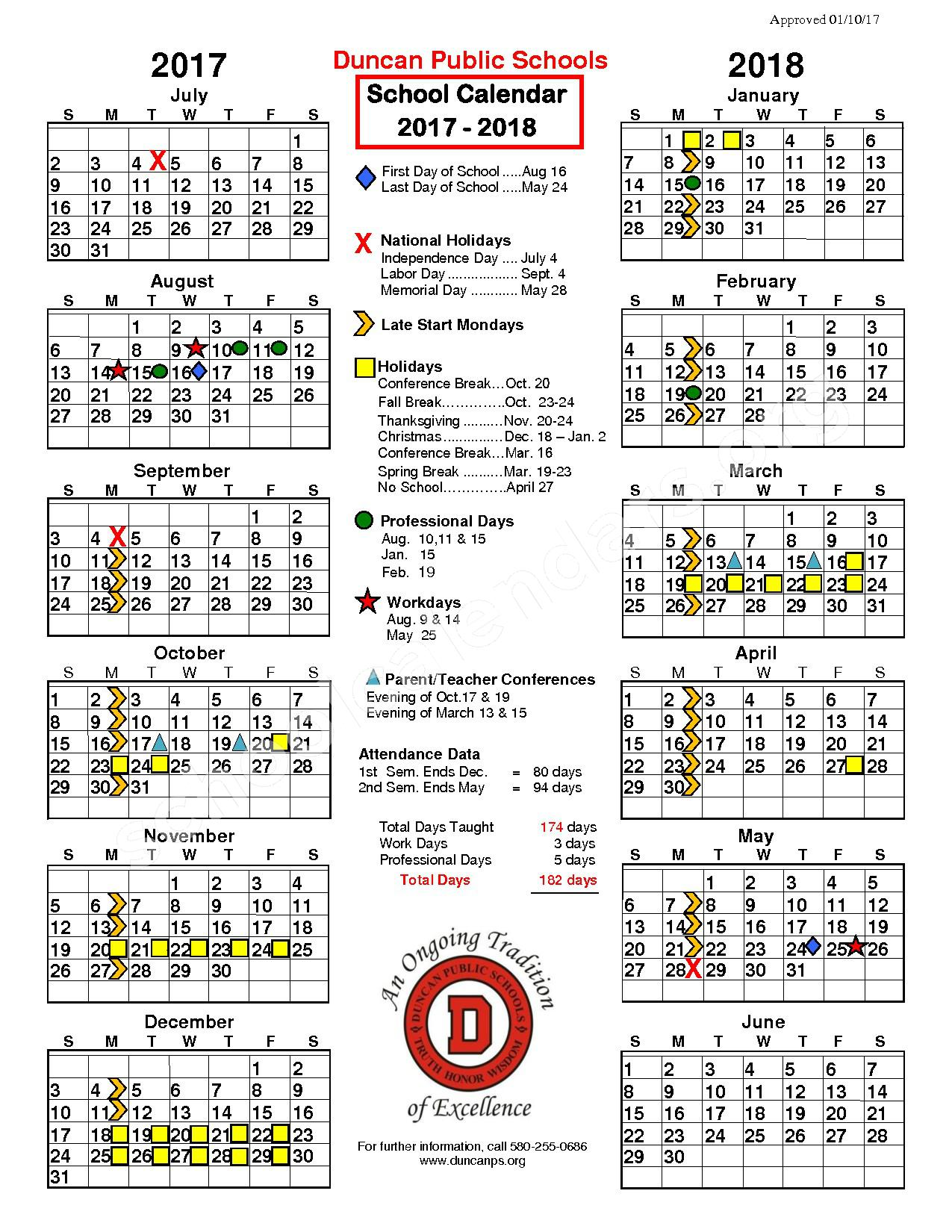 2017 - 2018 District Calendar – Woodrow Wilson Elementary School – page 1