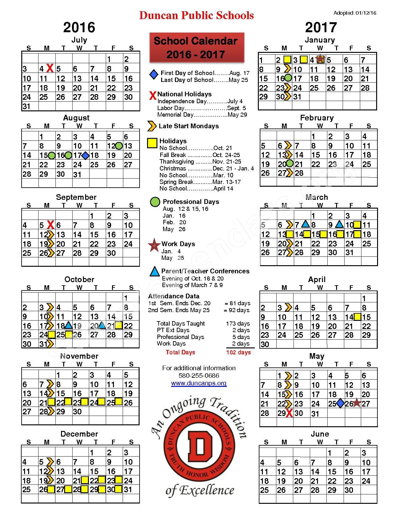 2016 - 2017 District Calendar – Duncan Public Schools – page 1