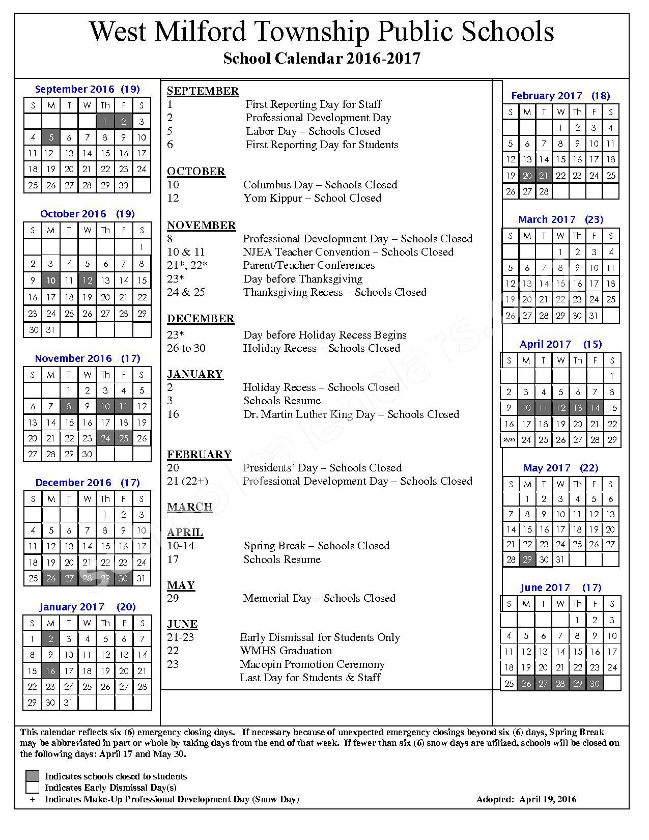 2016 - 2017 School Calendar – Maple Road – page 1