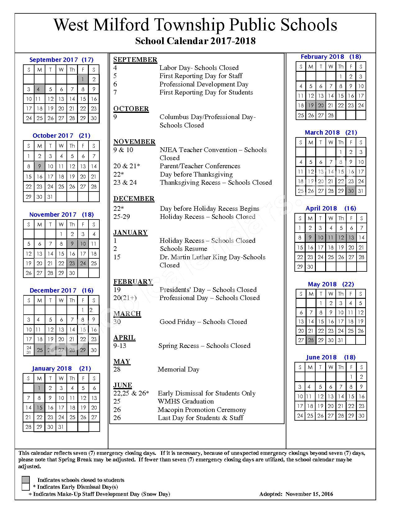 2017 - 2018 School Calendar – West Milford Township Public Schools – page 1