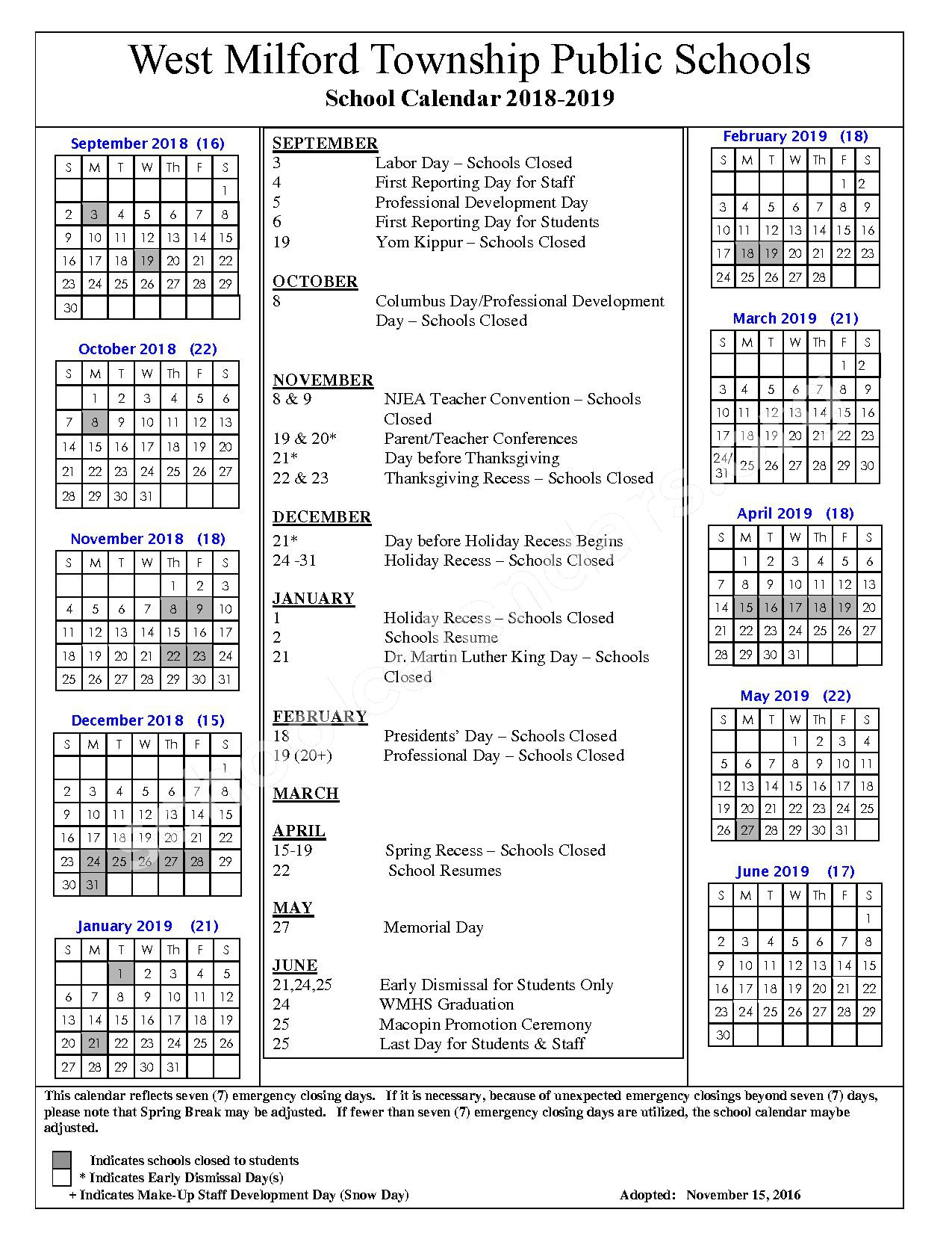 2018 - 2019 School Calendar – West Milford Township Public Schools – page 1