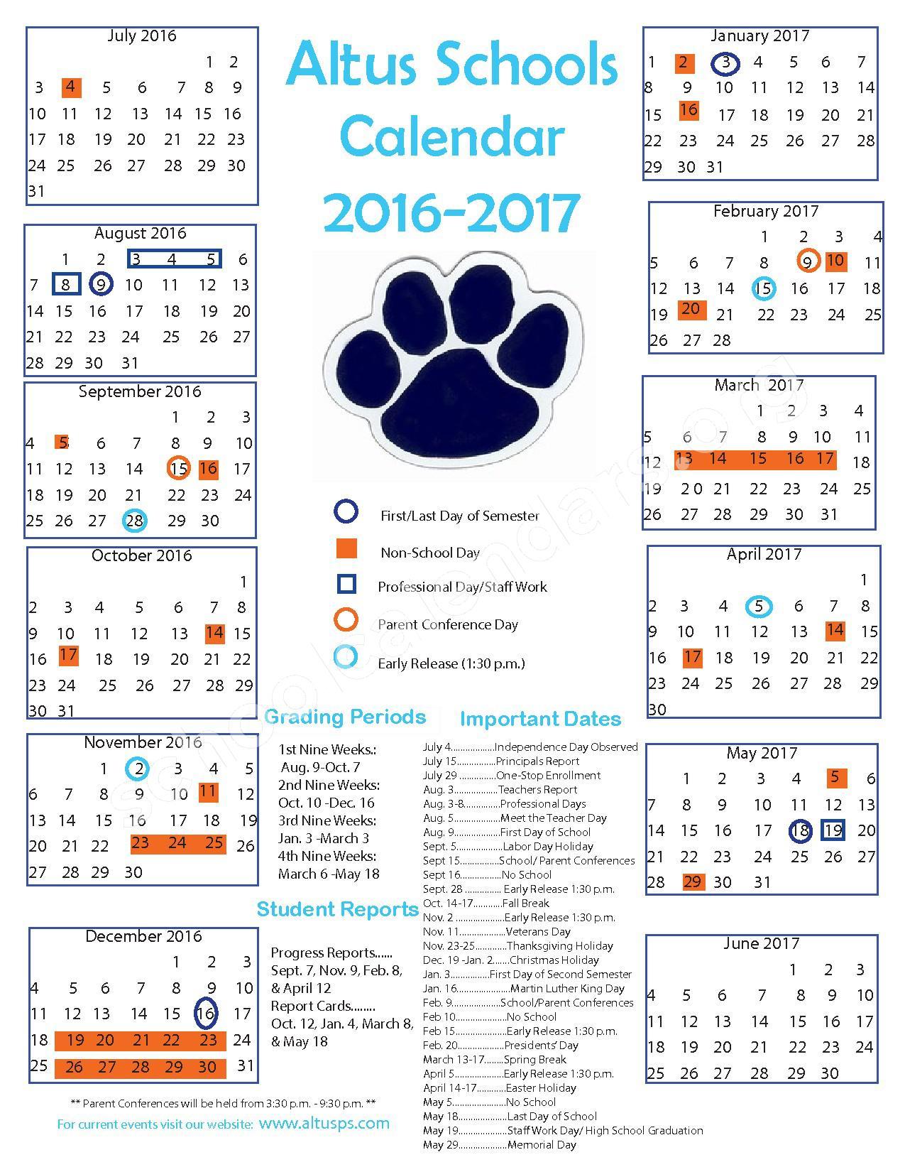 2016 - 2017 School Calendar – Altus Public Schools – page 1