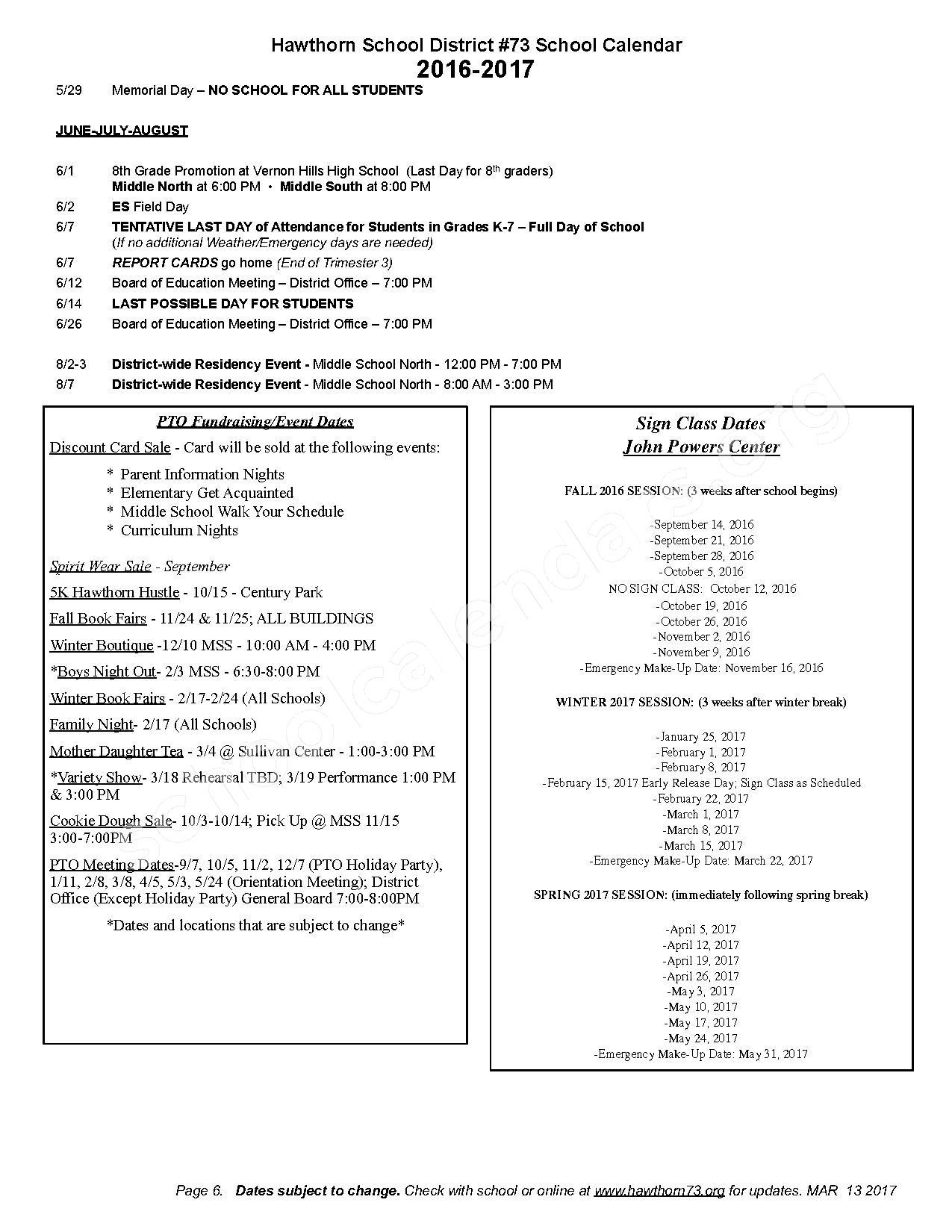 2016 - 2017 District Calendar – Hawthorn Aspen Elementary School – page 6