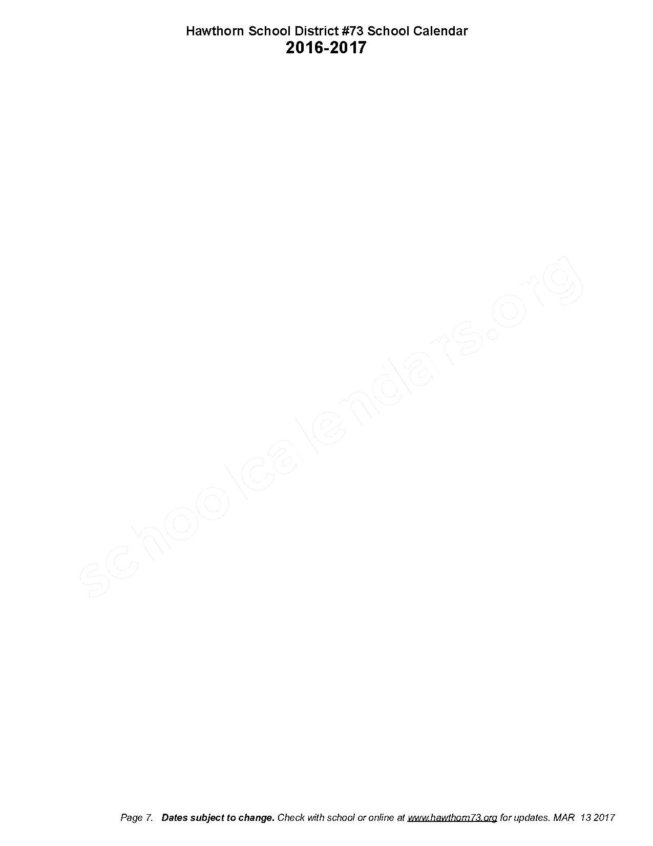 2016 - 2017 District Calendar – Hawthorn Aspen Elementary School – page 7
