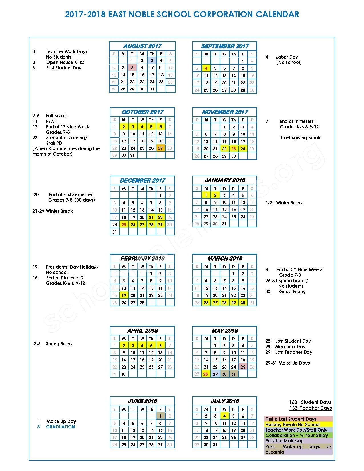 2017 - 2018 School Calendar – East Noble School Corporation – page 1