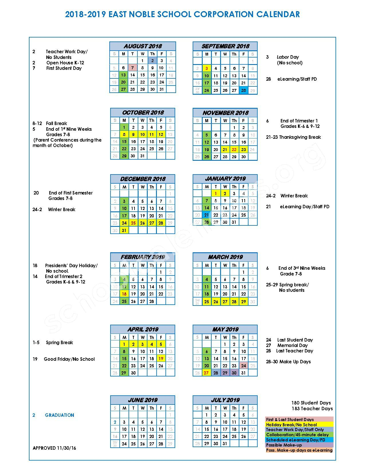 2018 - 2019 School Calendar – East Noble School Corporation – page 1