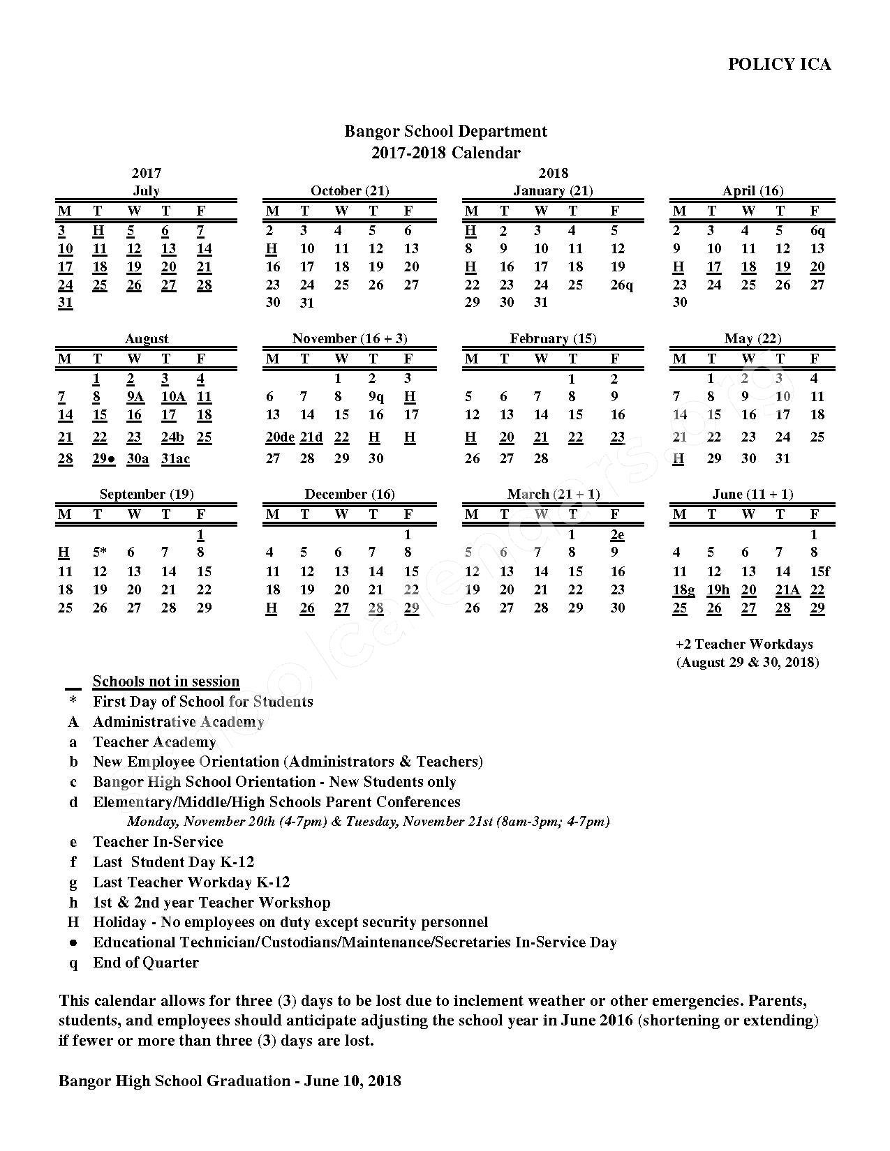 2017 - 2018 School Calendar – Bangor School Department – page 1