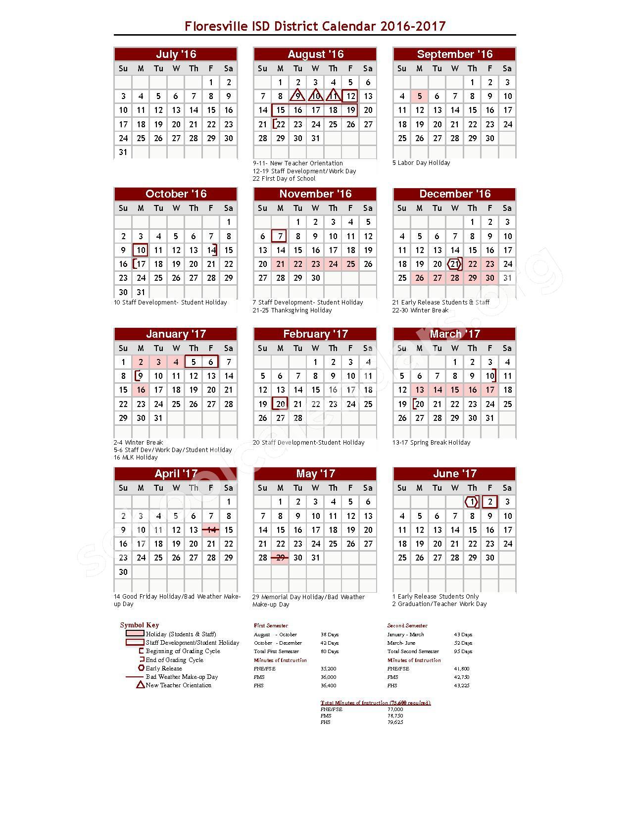2016 - 2017 School Calendar – Floresville Choice Program – page 1