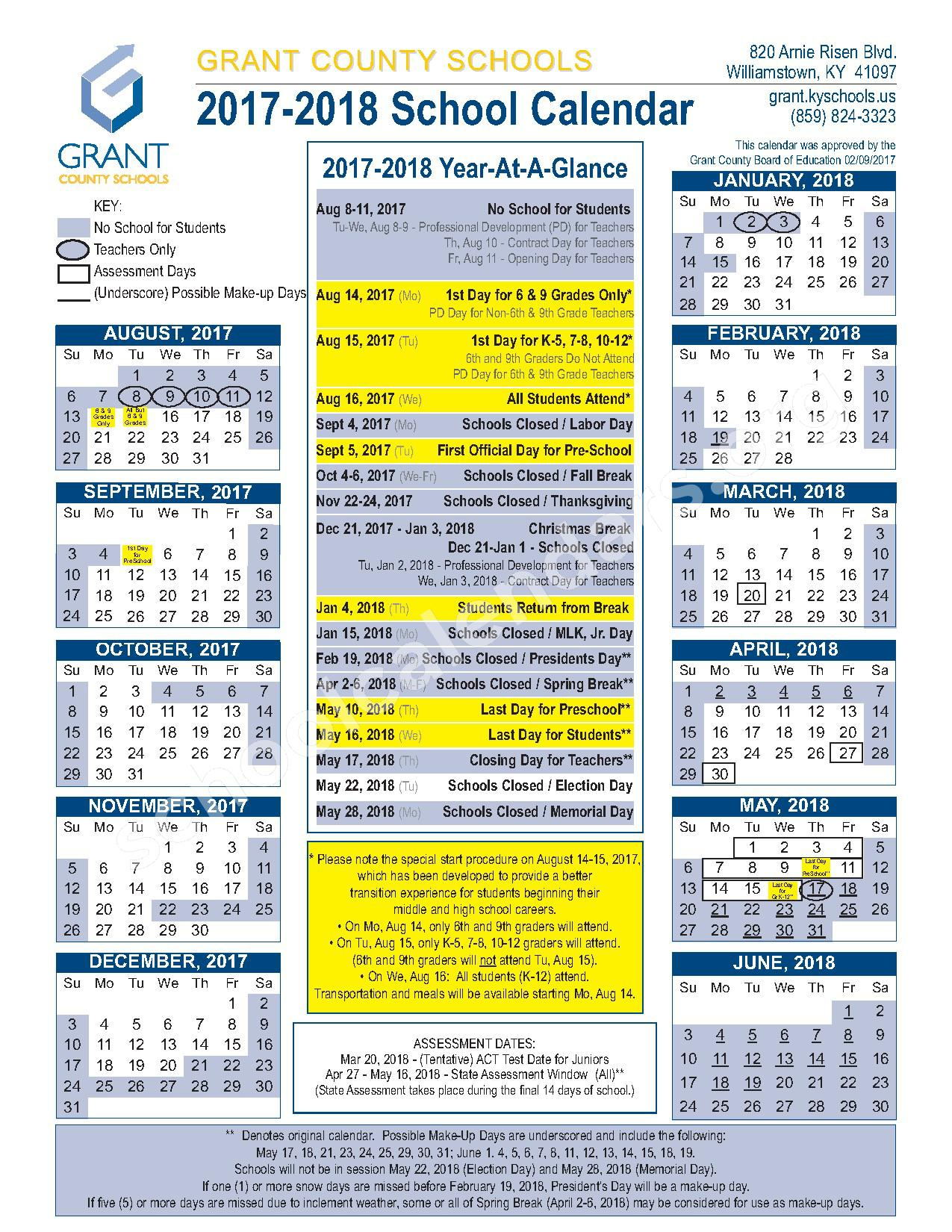 2017 - 2018 School Calendar – Grant County School District – page 1