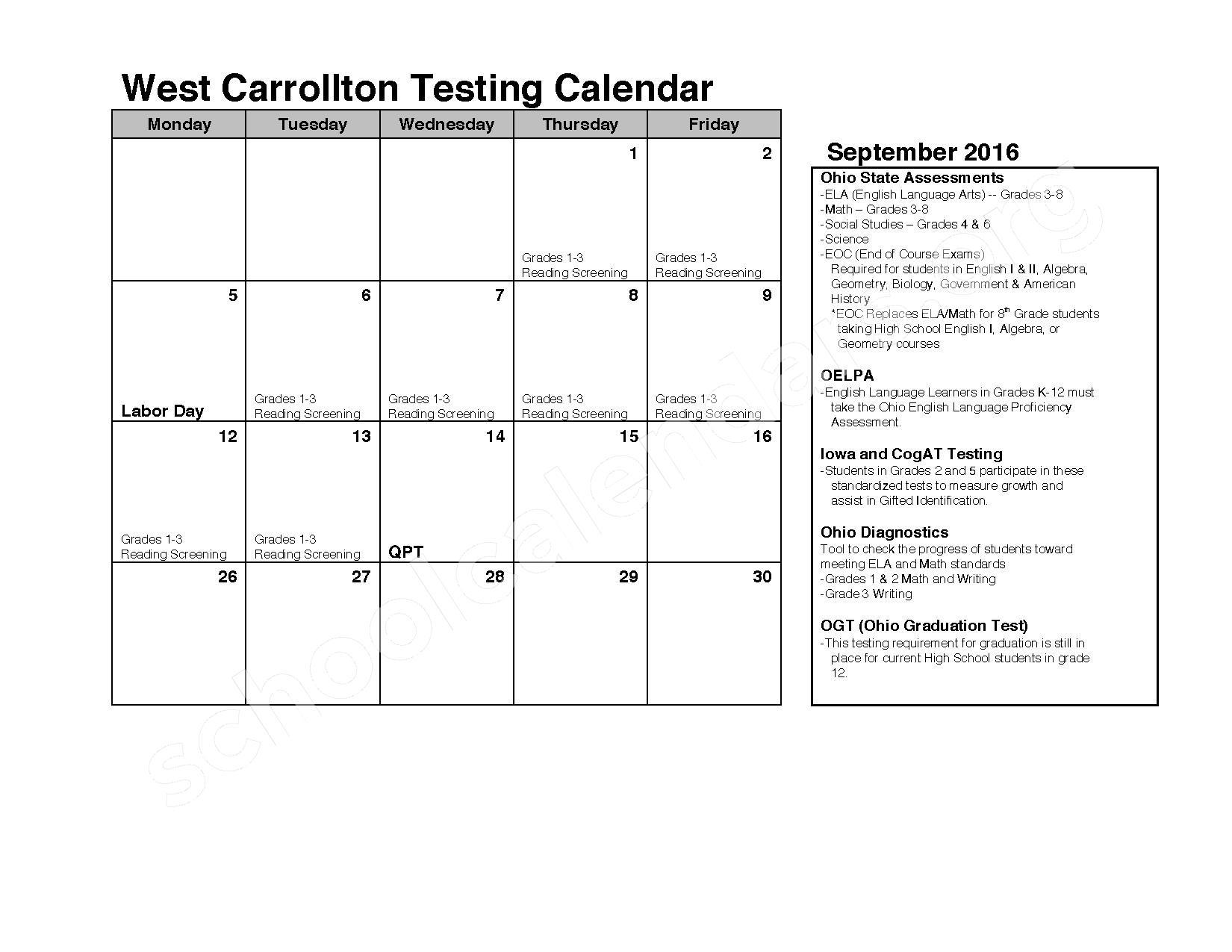 2016 - 2017 School Calendar – West Carrollton City Schools – page 1