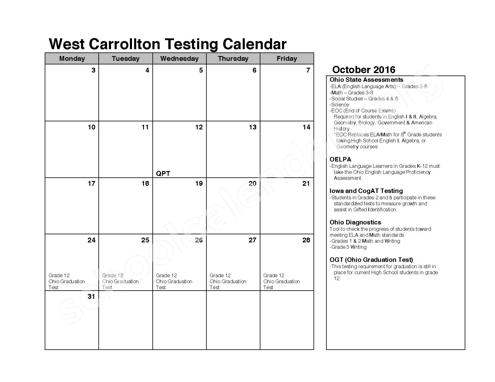 2016 - 2017 School Calendar – West Carrollton City Schools – page 2