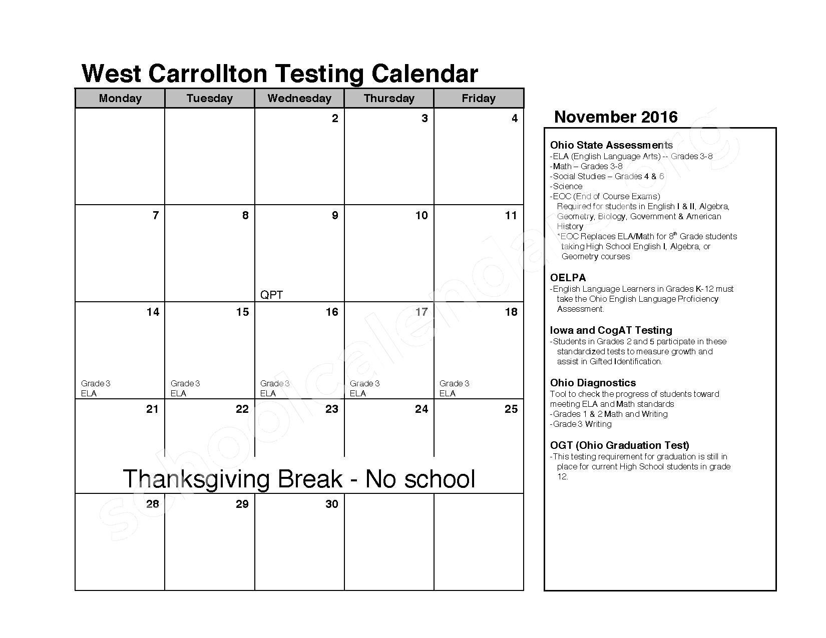 2016 - 2017 School Calendar – West Carrollton City Schools – page 3