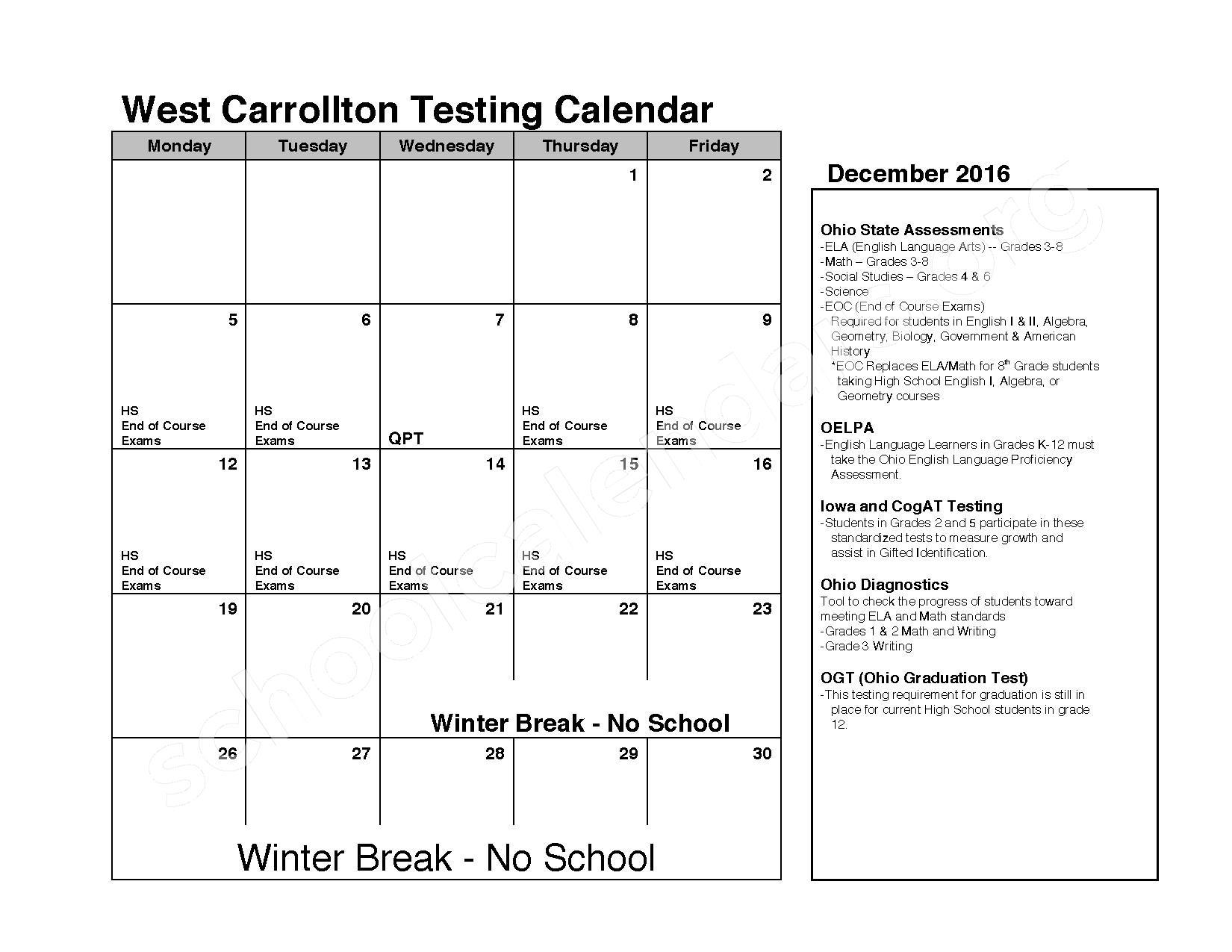 2016 - 2017 School Calendar – C F Holliday Elementary School – page 4