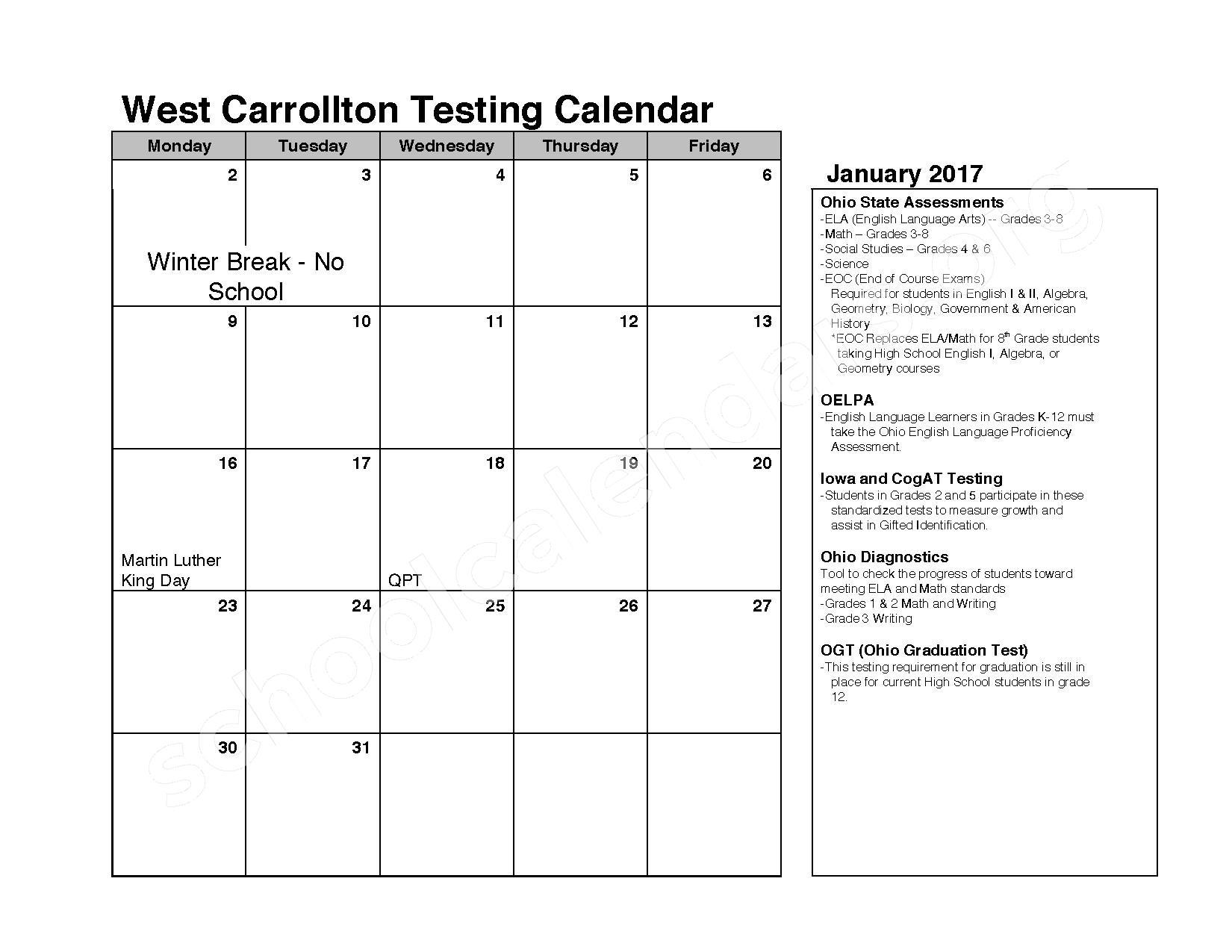 2016 - 2017 School Calendar – West Carrollton City Schools – page 5