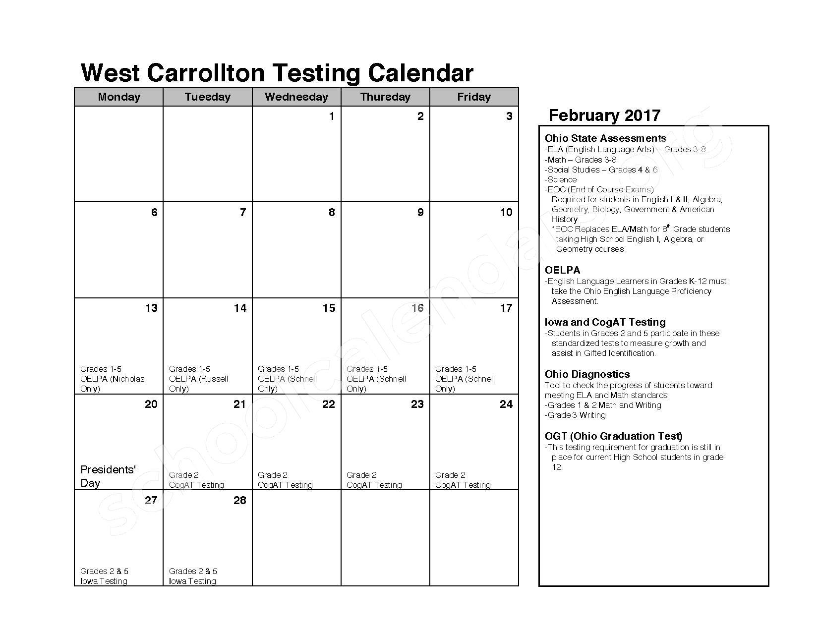 2016 - 2017 School Calendar – C F Holliday Elementary School – page 6