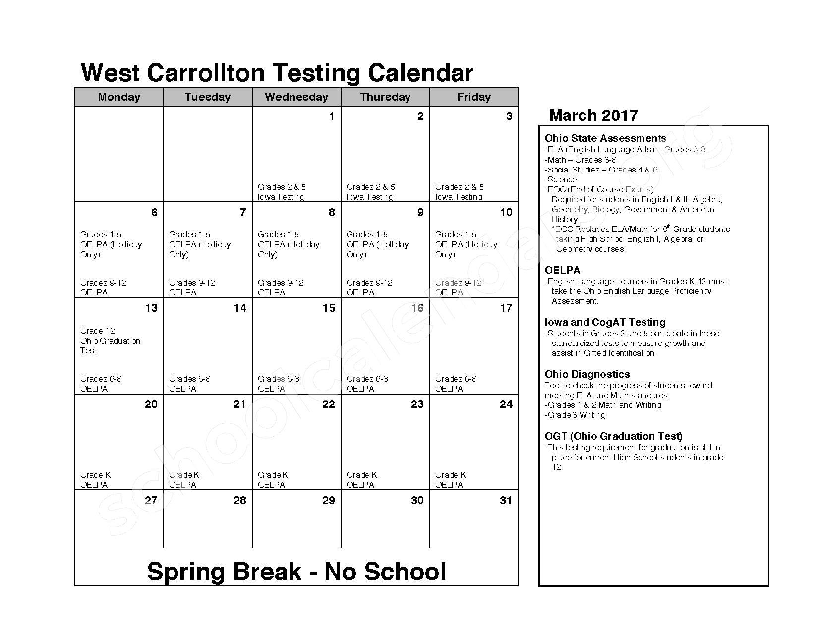 2016 - 2017 School Calendar – West Carrollton City Schools – page 7