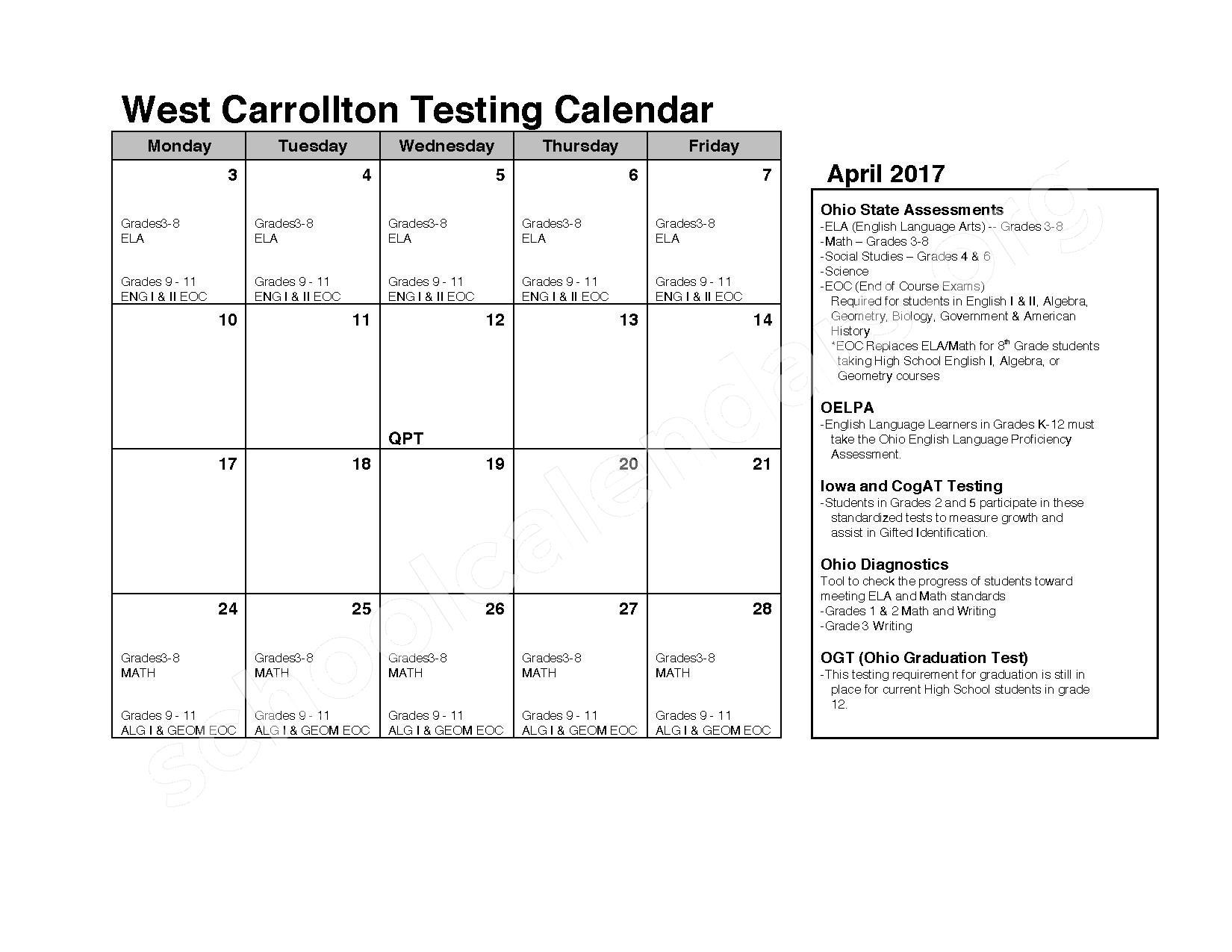 2016 - 2017 School Calendar – West Carrollton City Schools – page 8