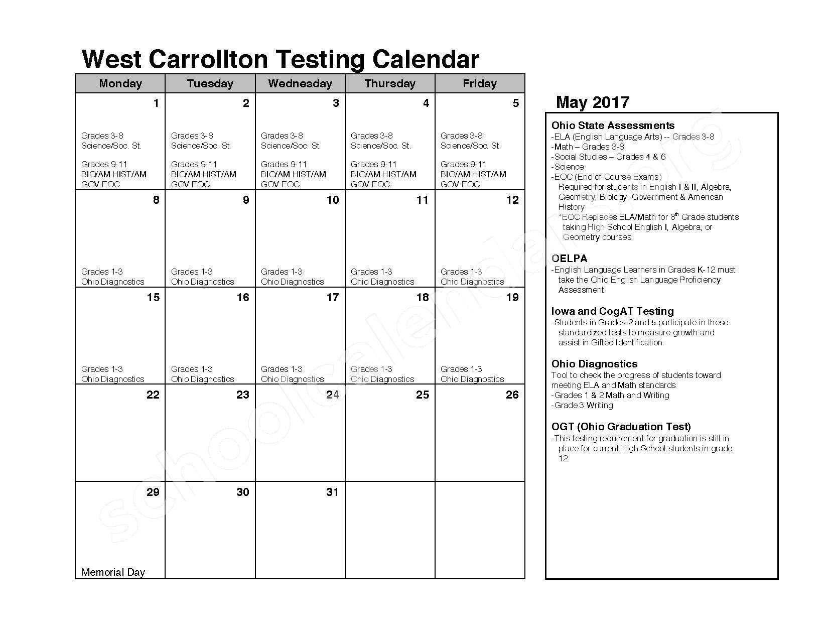 2016 - 2017 School Calendar – C F Holliday Elementary School – page 9