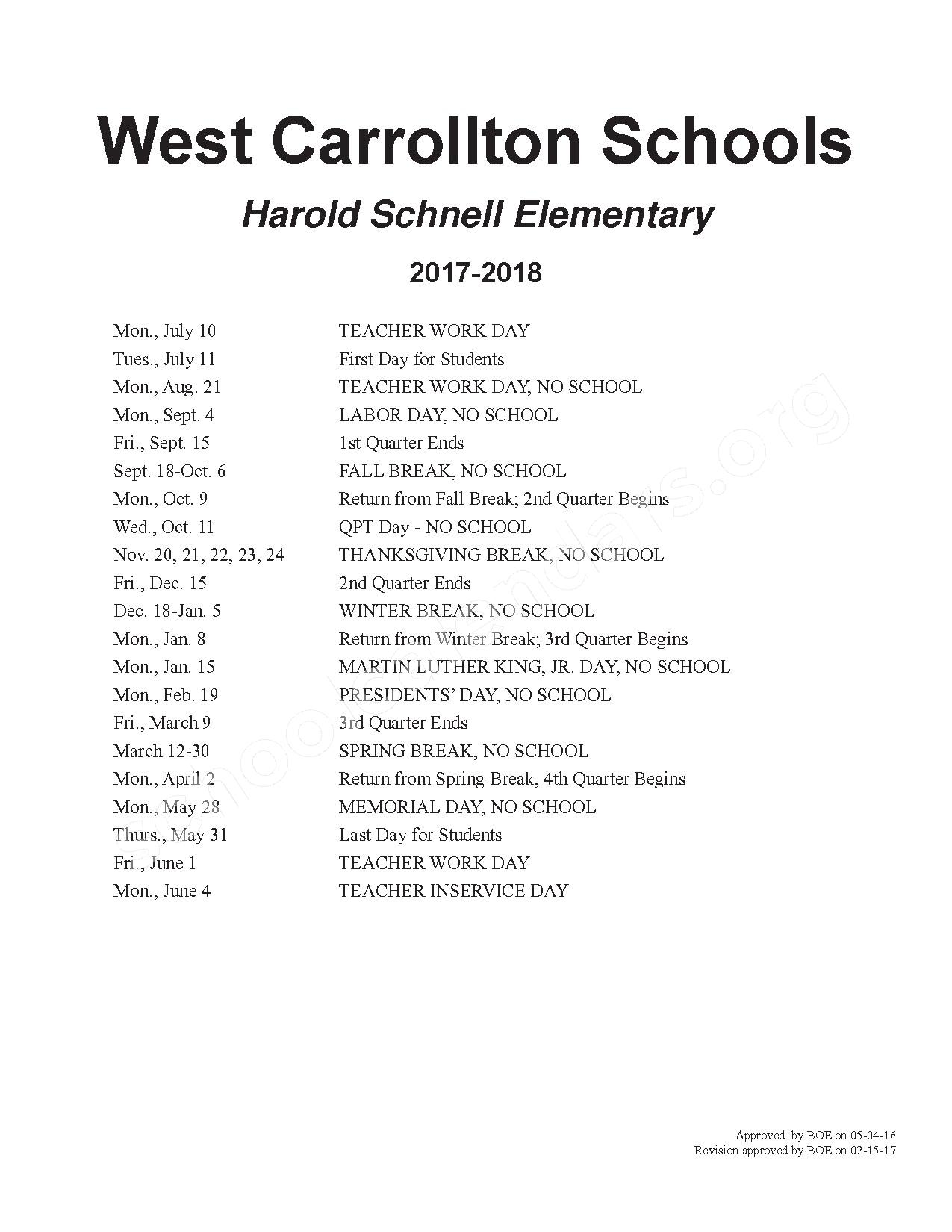 2017 - 2018 School Calendar – West Carrollton City Schools – page 2