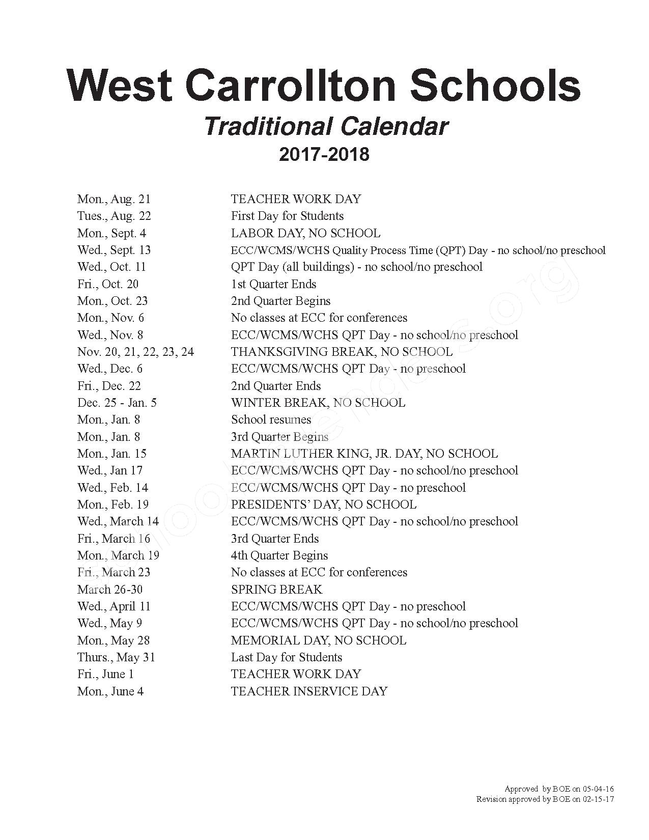 2017 - 2018 School Calendar page 1
