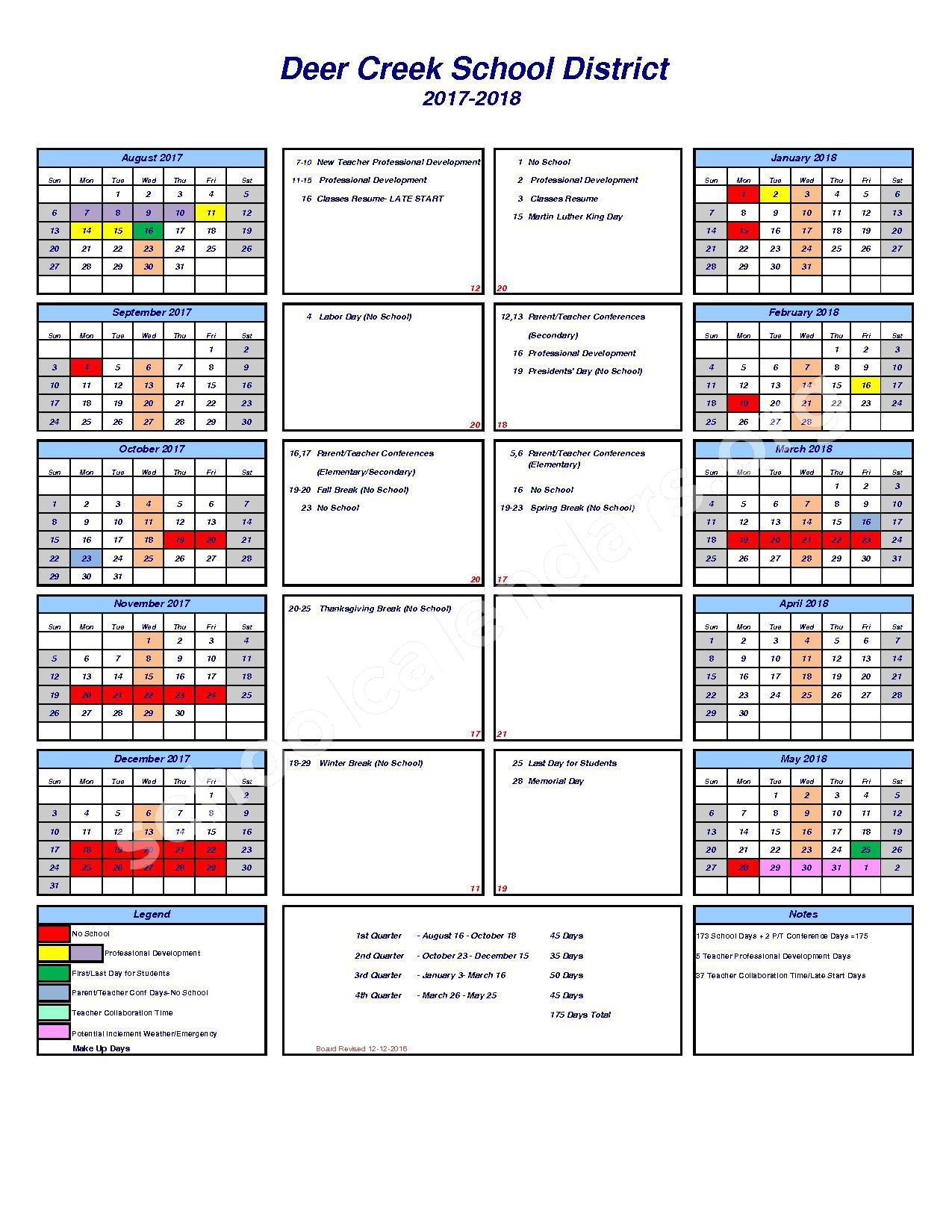 2017 - 2018 School Calendar – Deer Creek School District – page 1