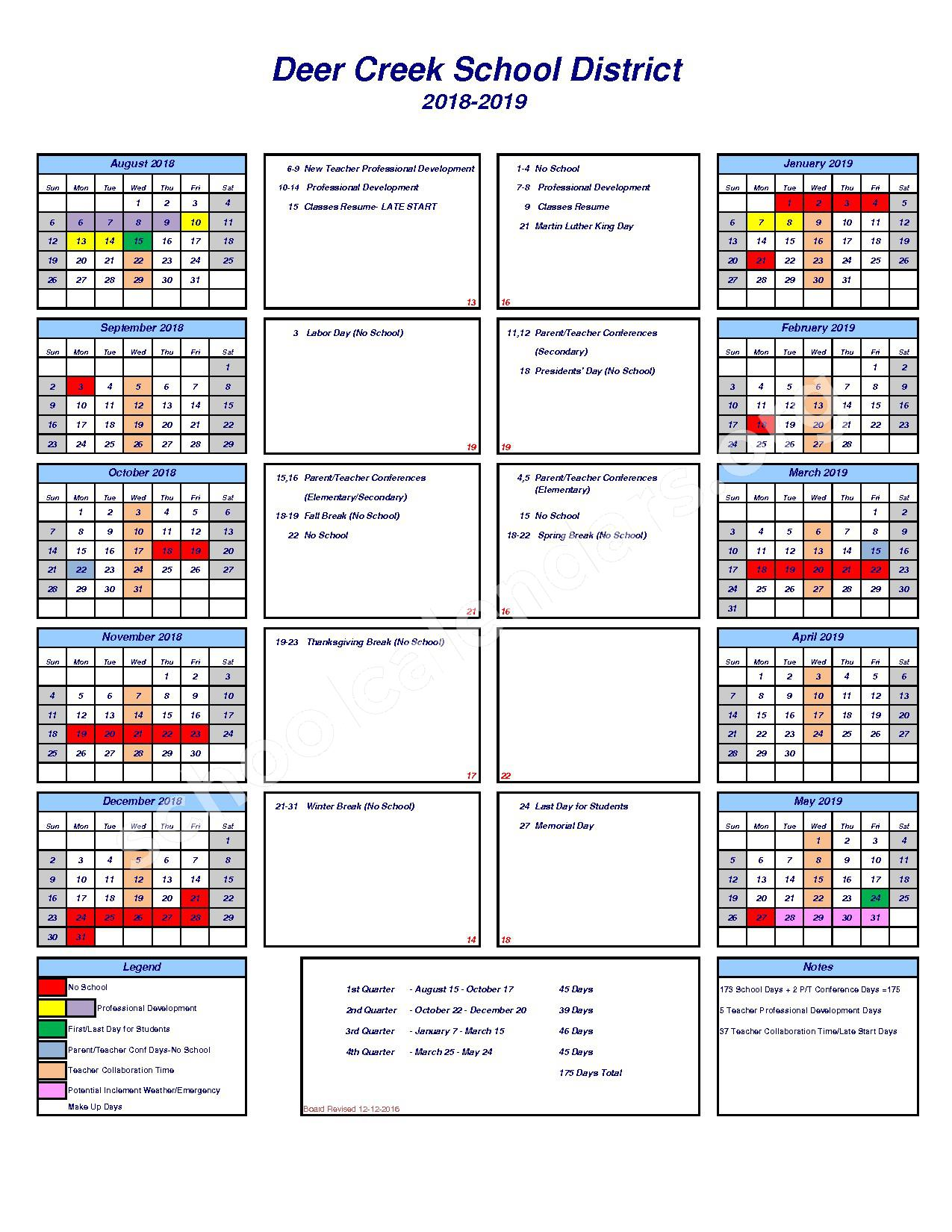 2018 - 2019 School Calendar – Deer Creek School District – page 1