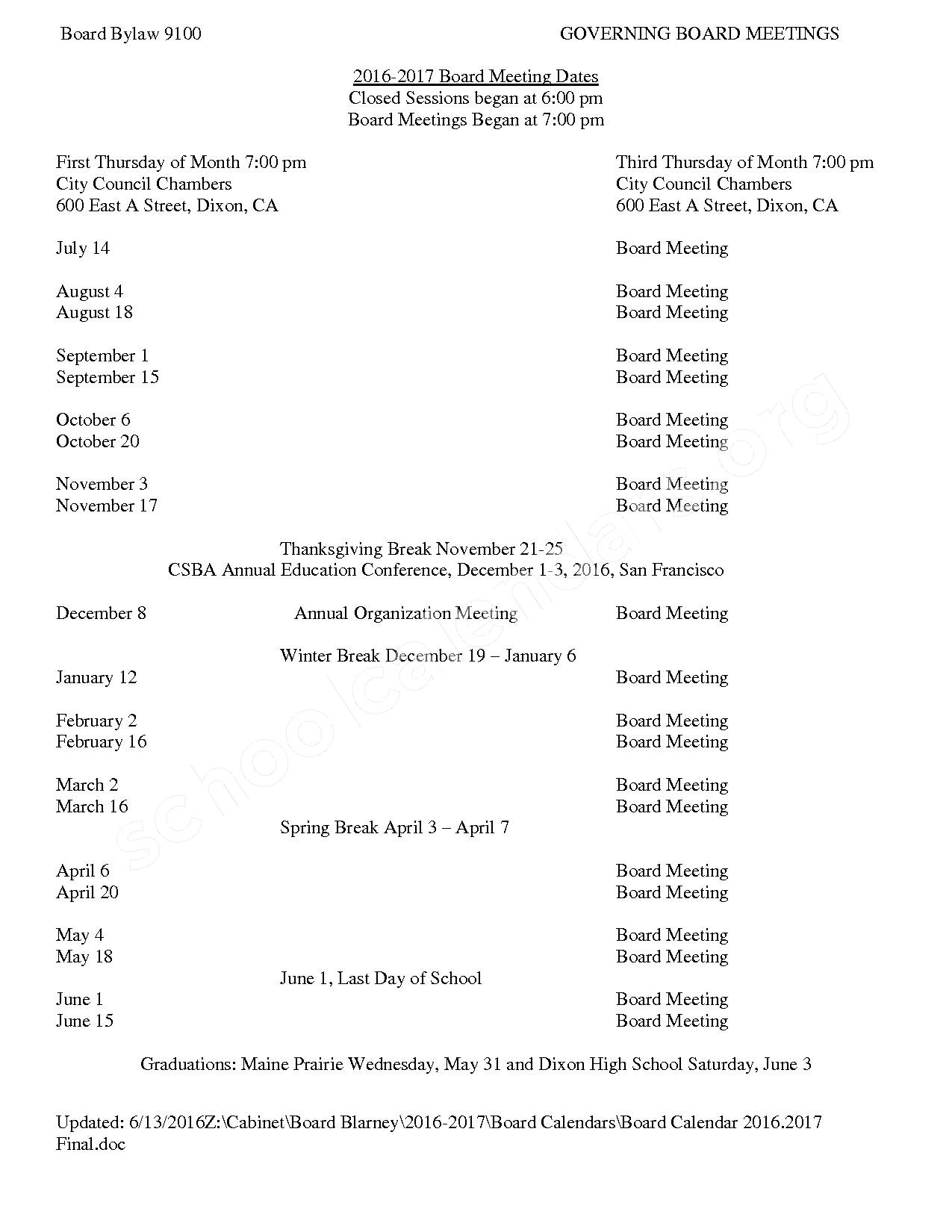2016 - 2017 Board Meeting Calendar – Dixon Unified School District – page 1
