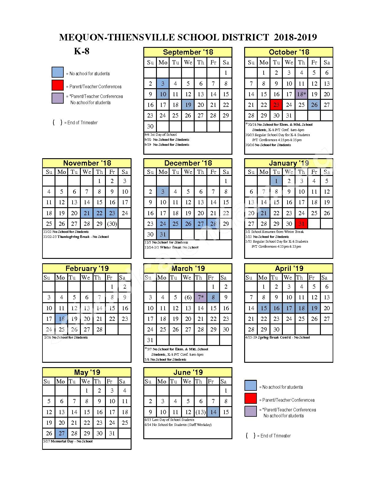 2018 - 2019 District Calendar – Mequon-Thiensville School District – page 1