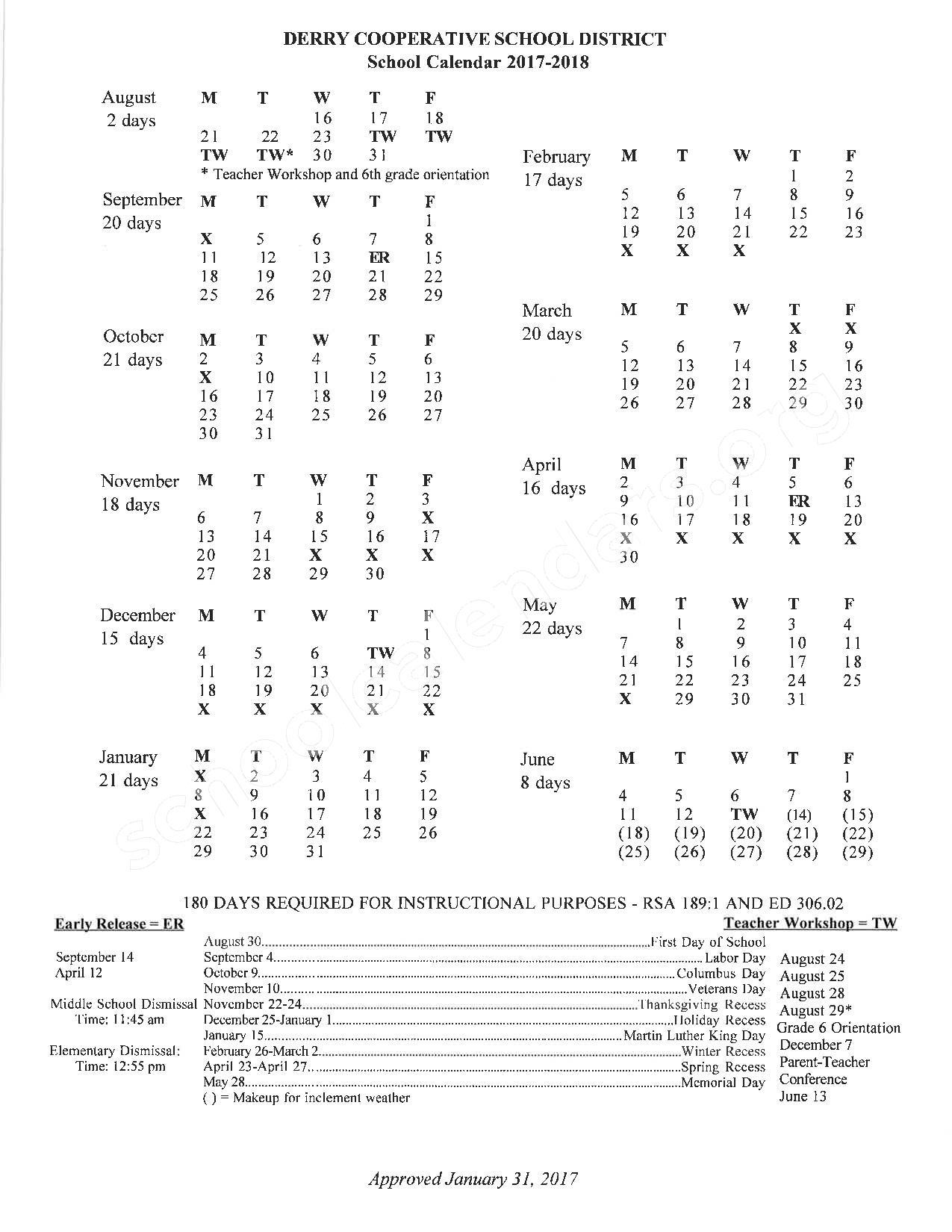 2017 - 2018 District Calendar – SAU 10 - Derry Cooperative School District – page 1
