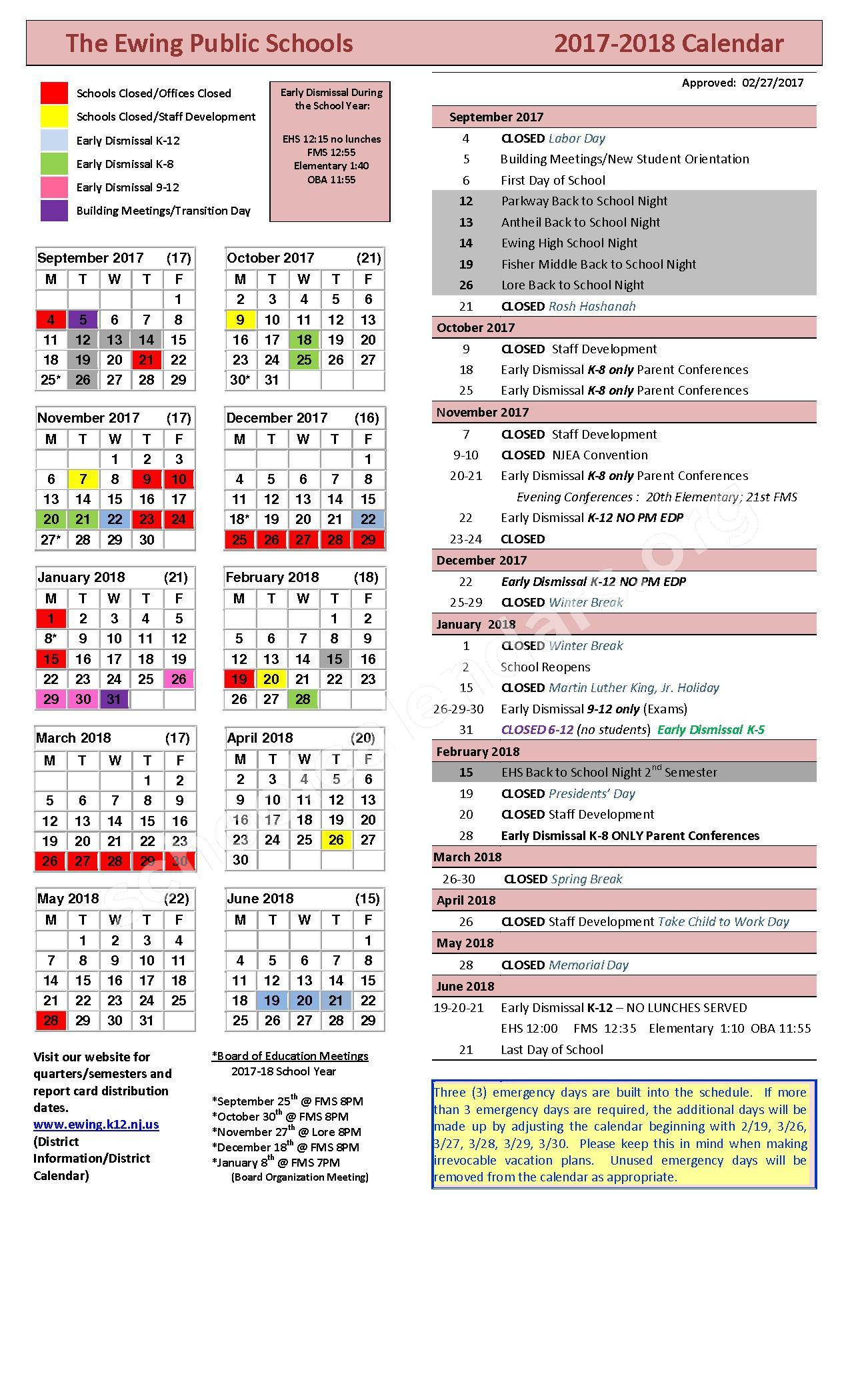 2017 - 2018 School Calendar – Ewing Township Schools – page 1
