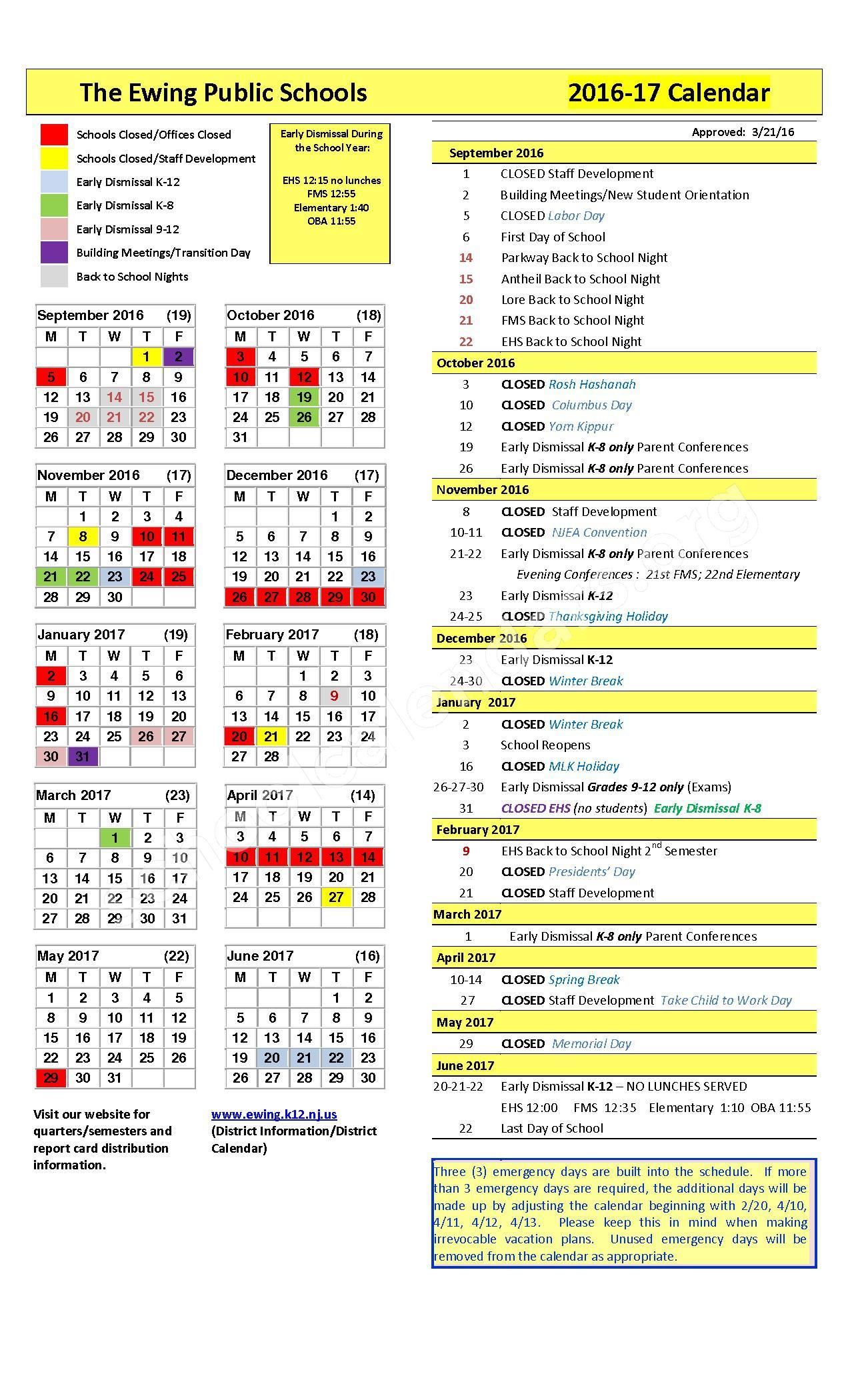 2016 - 2017 School Calendar – Ewing Township Schools – page 1