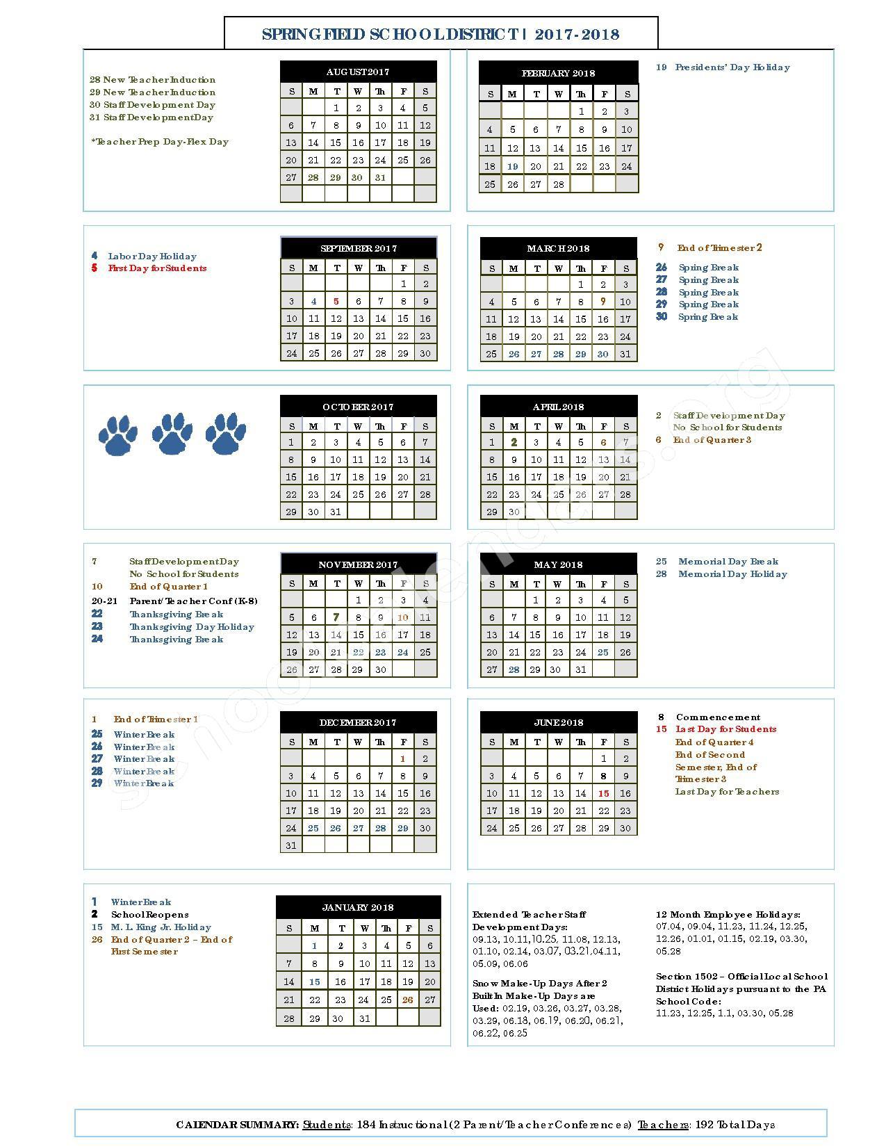 2017 - 2018 School Calendar – Springfield School District (Delaware County) – page 1