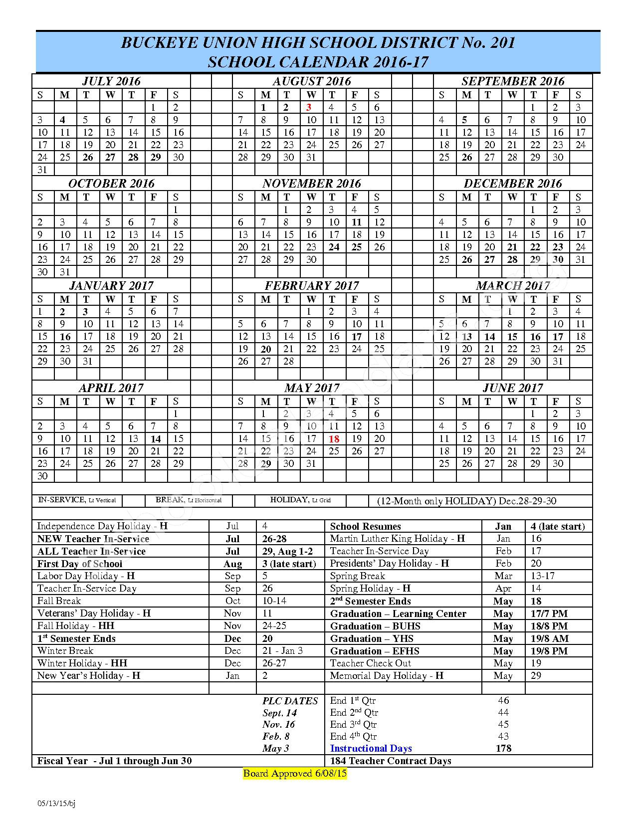 2016 - 2017 District Calendar – Buckeye Union High School District #201 – page 1