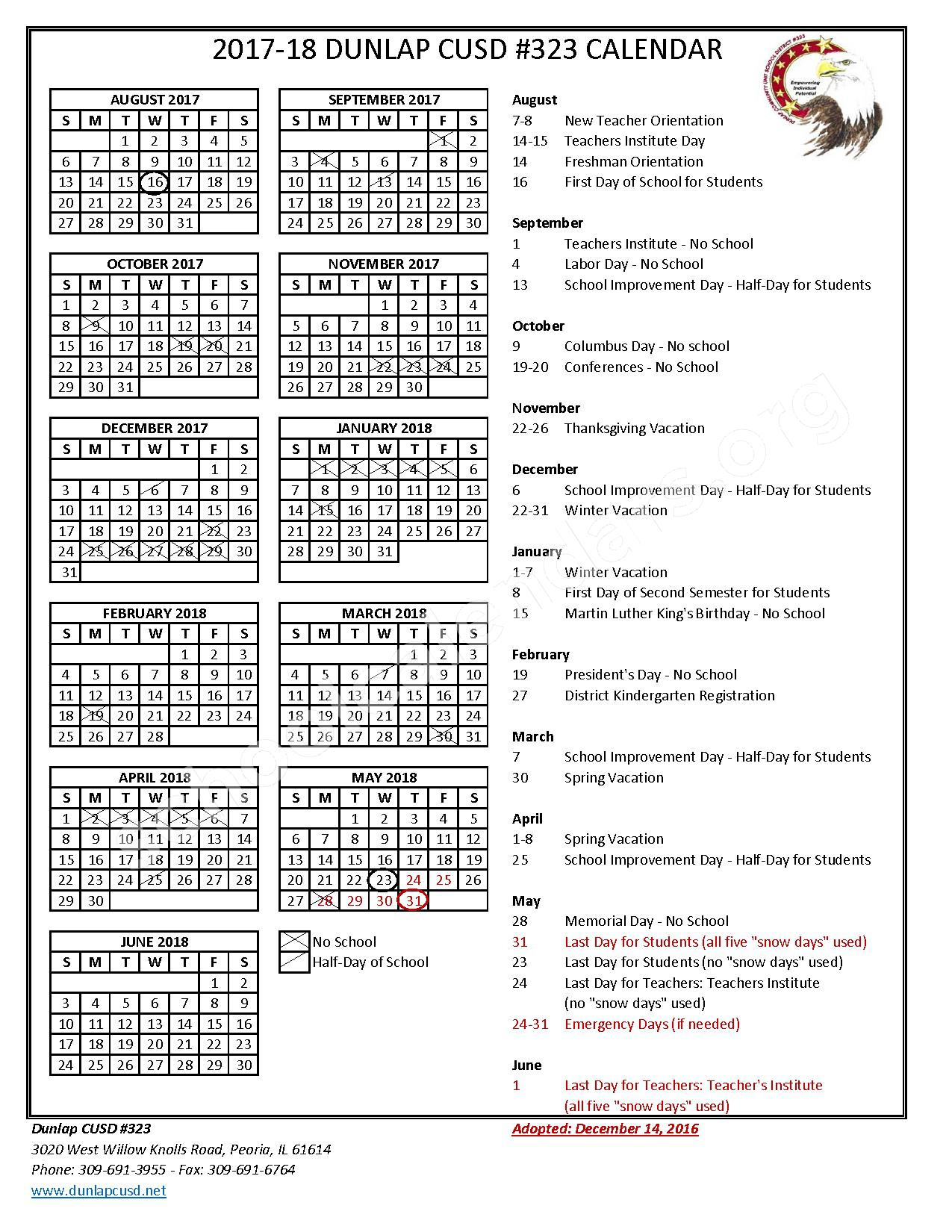 2017 - 2018 School Calendar – Dunlap Community Unit School District 323 – page 1