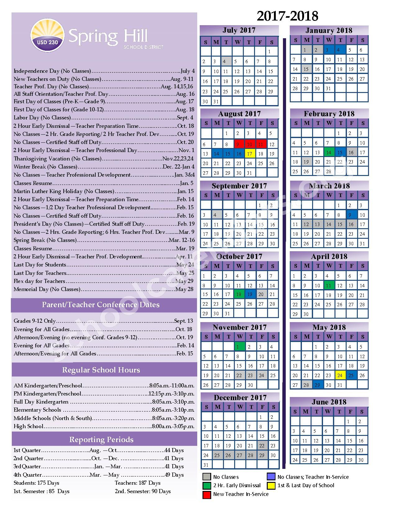 2017 - 2018 Calendar – Spring Hill Unified School District 230 – page 1