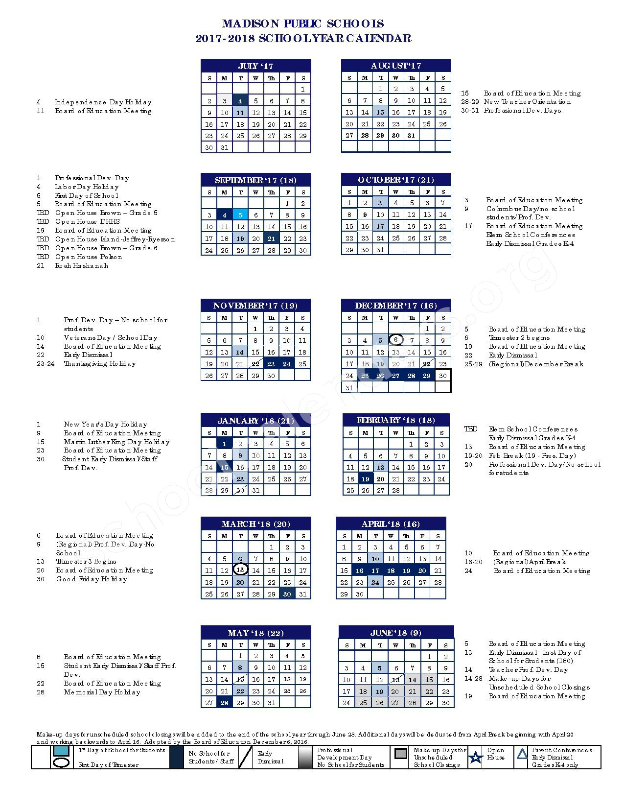 2017 - 2018 District Calendar – Daniel Hand High School – page 1