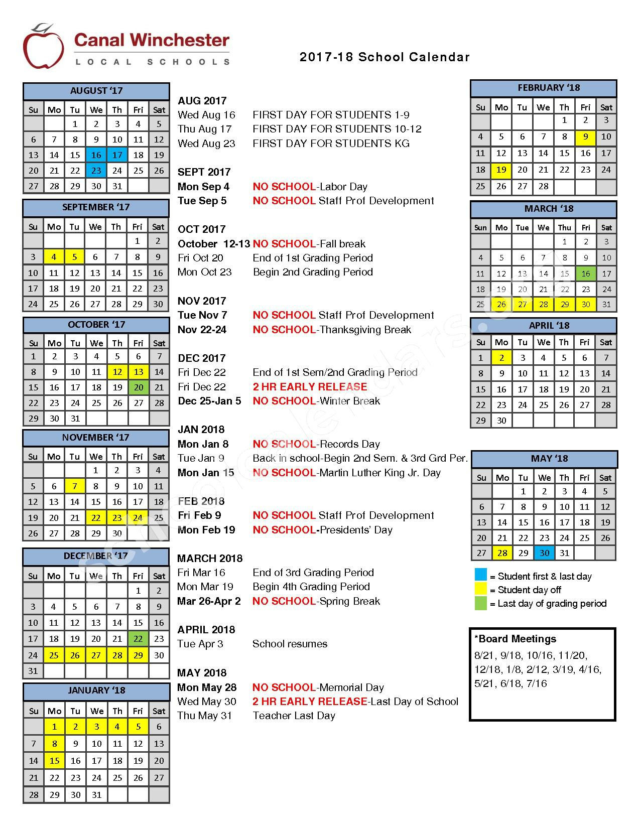 2017 - 2018 District Calendar – Canal Winchester High School – page 1