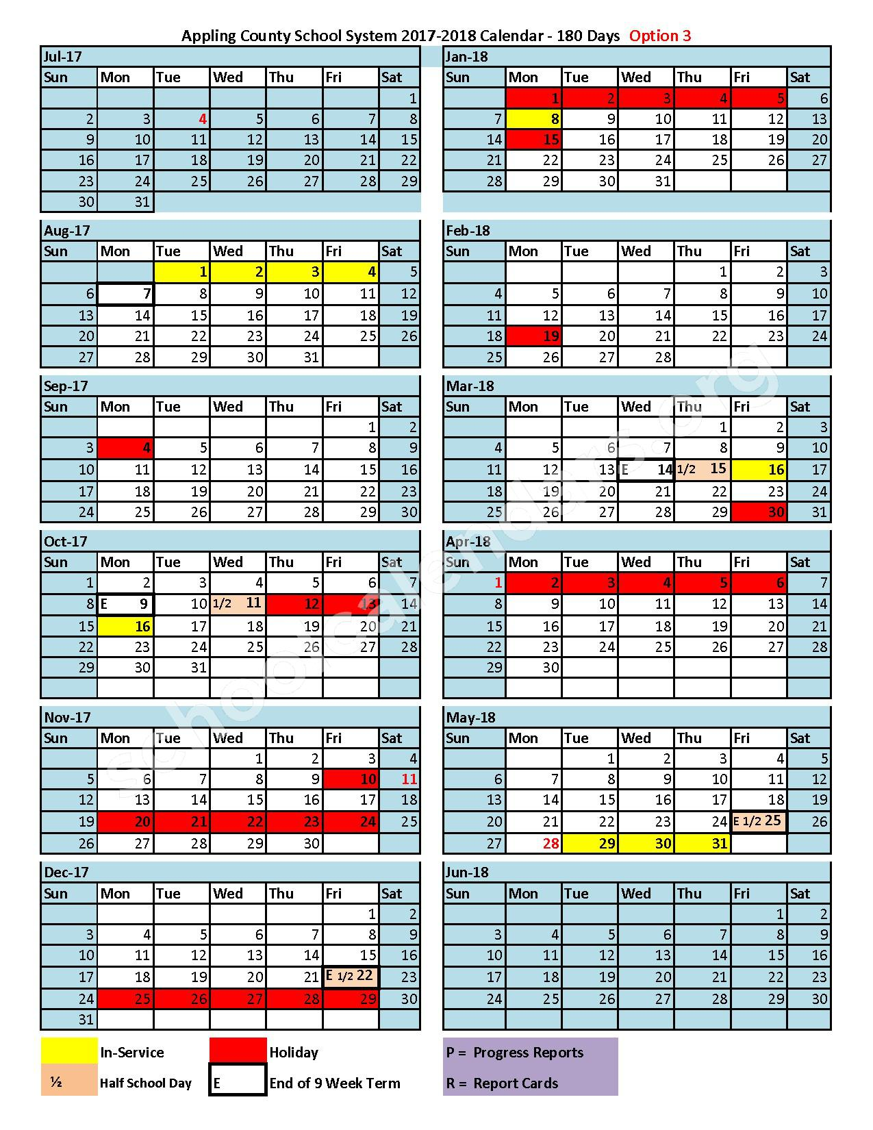2017 - 2018 District Calendar – Appling County School District – page 1