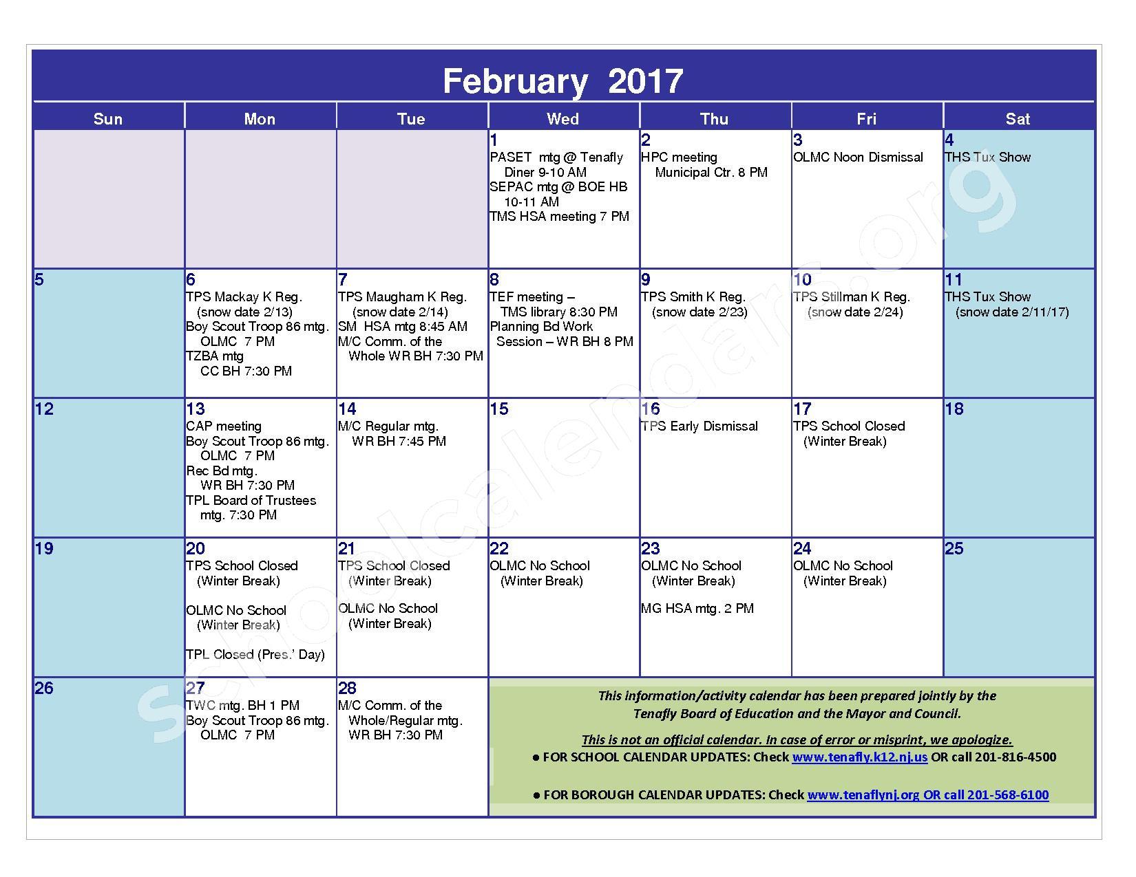 2016 - 2017 District Calendar – Tenafly Public Schools – page 13