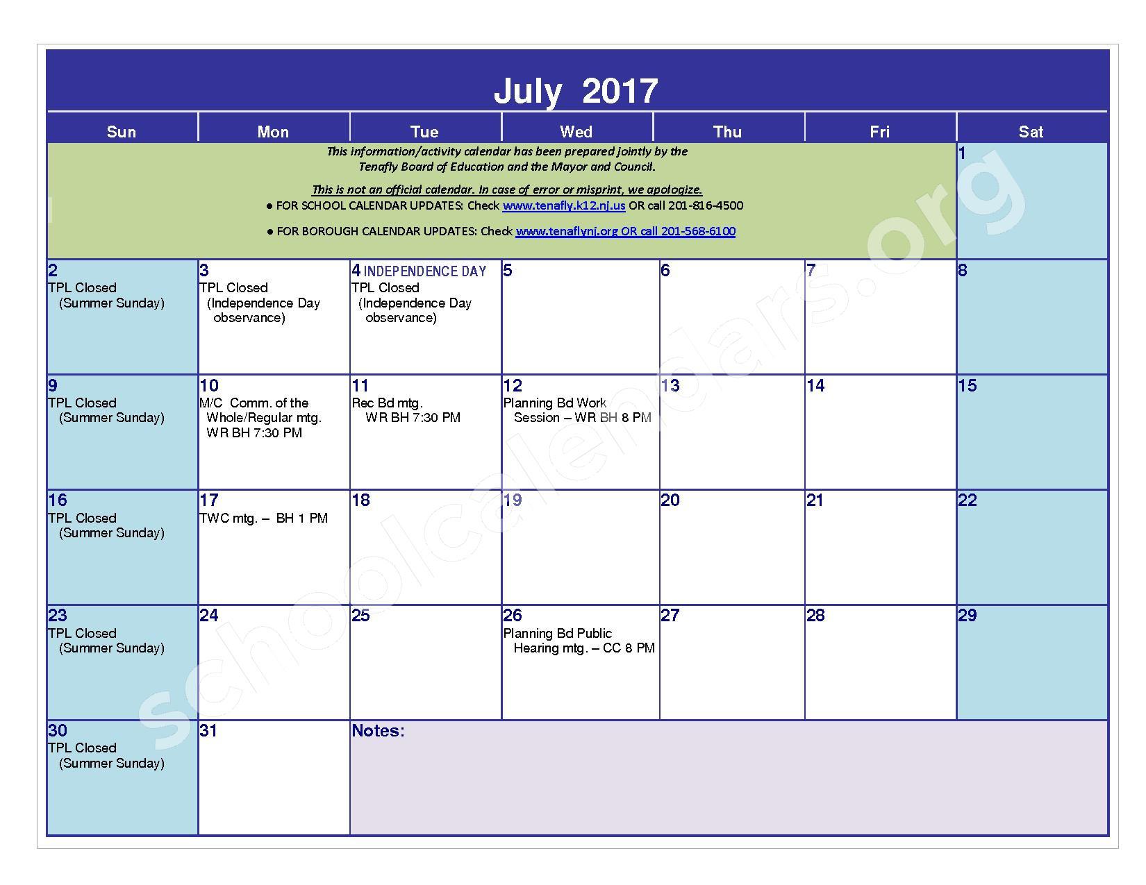 2016 - 2017 District Calendar – Tenafly Public Schools – page 23