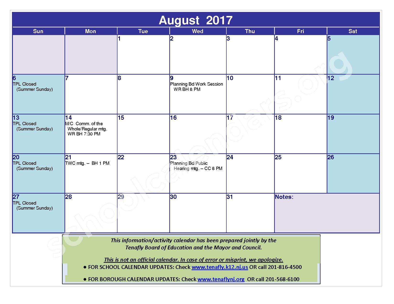2016 - 2017 District Calendar – Tenafly Public Schools – page 24