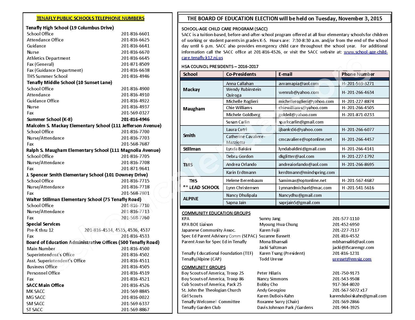 2016 - 2017 District Calendar – Tenafly Public Schools – page 4