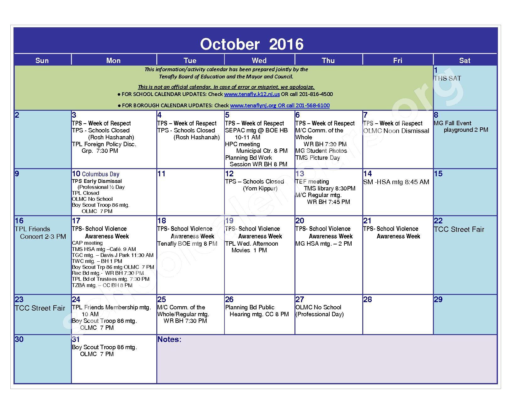 2016 - 2017 District Calendar – Tenafly Public Schools – page 5
